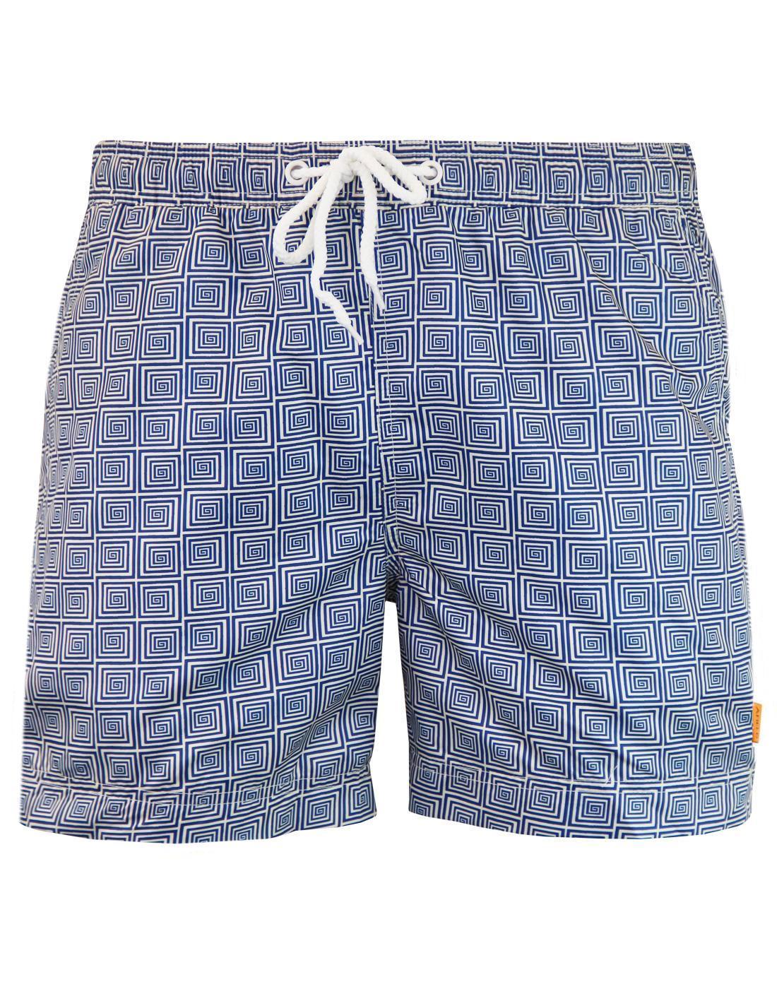 AFIELD Retro 70s Op Art Spiral Square Swim Shorts