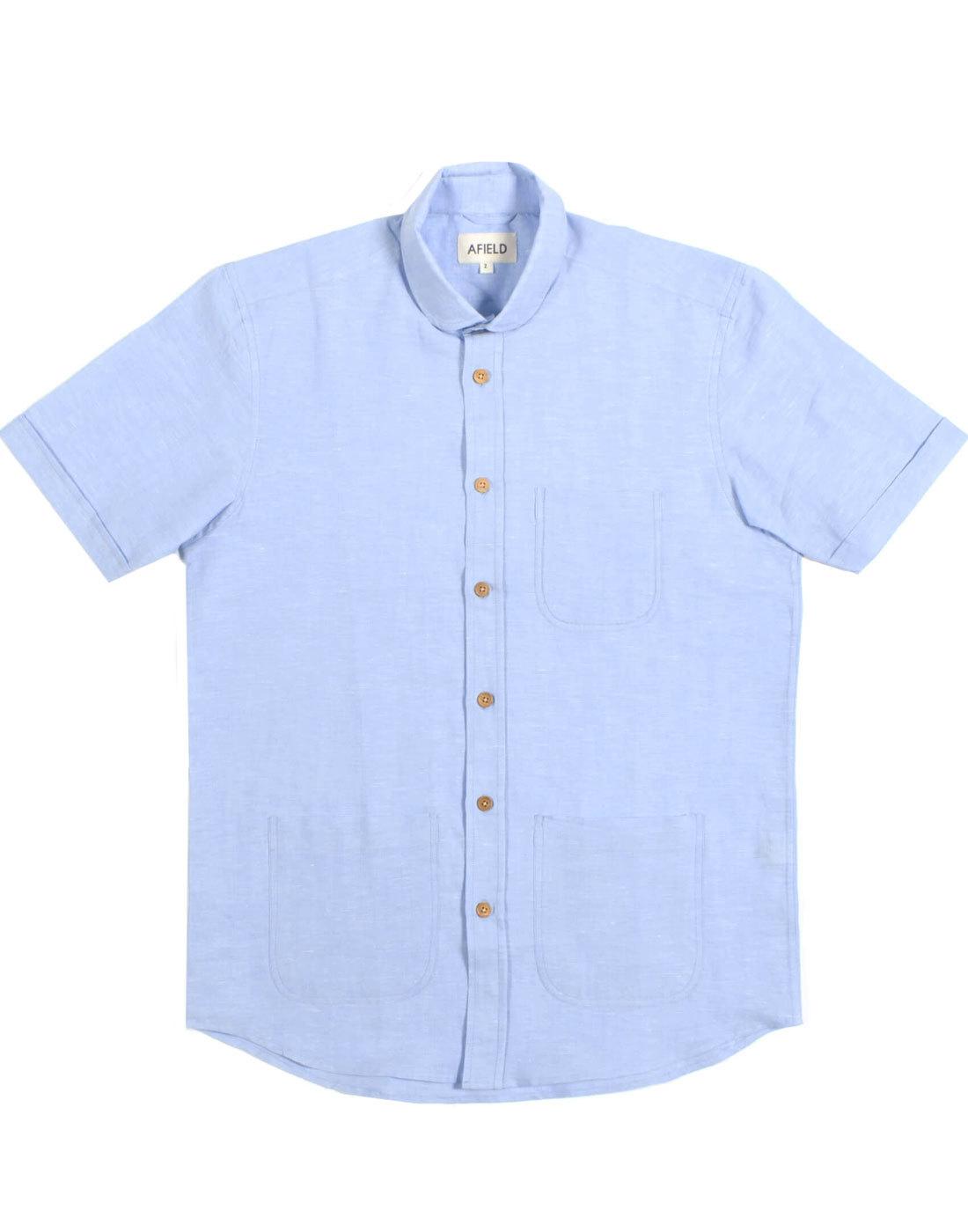 Santos AFIELD Retro Linen Penny Collar Shirt BLUE