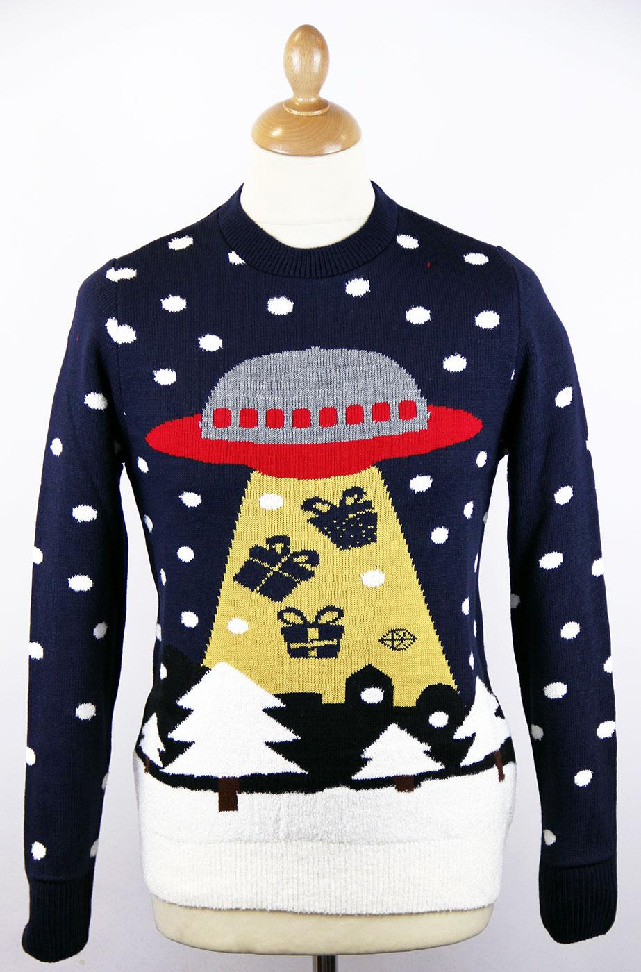 BEAM ME UP PRESSIES' RETRO 70S SPACESHIP CHRISTMAS JUMPER on The Hunt