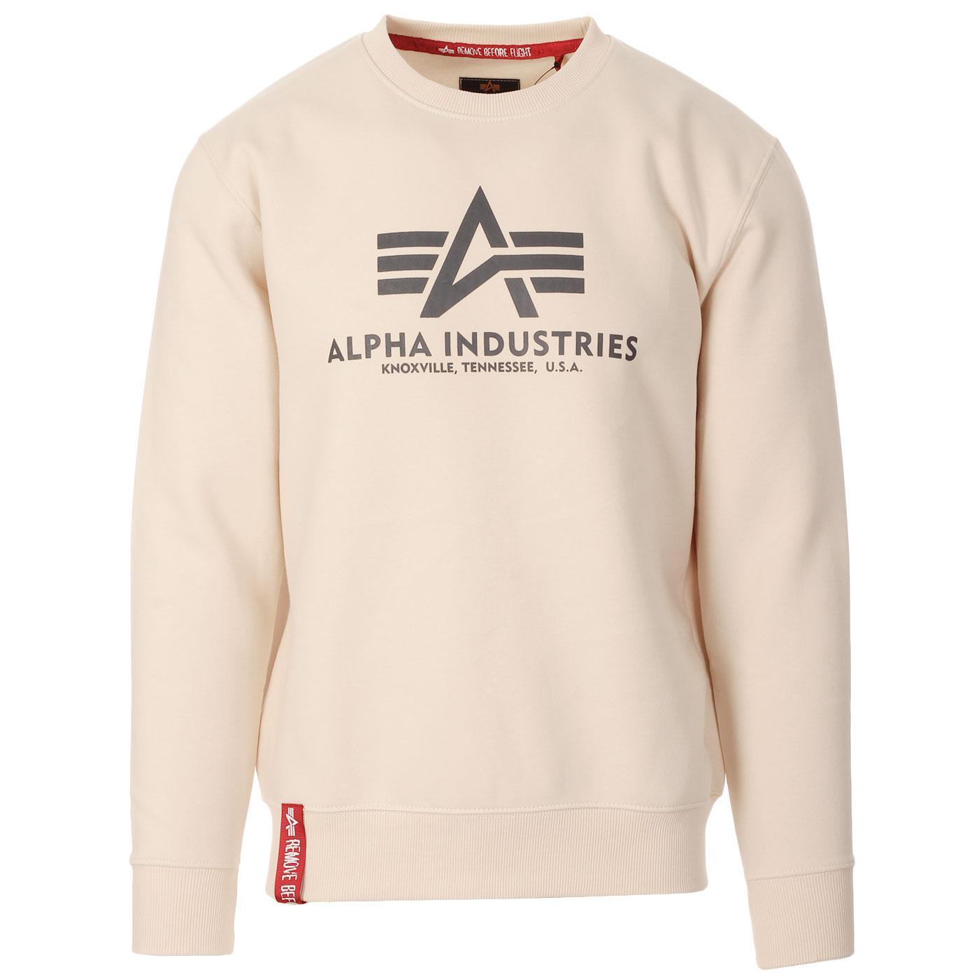 ALPHA INDUSTRIES Mens Logo Sweatshirt (Jet Stream)
