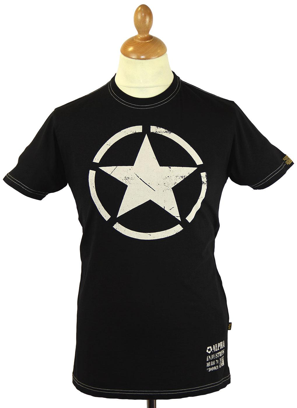 tops mens t shirts alpha industries retro indie star print t shirt. Black Bedroom Furniture Sets. Home Design Ideas