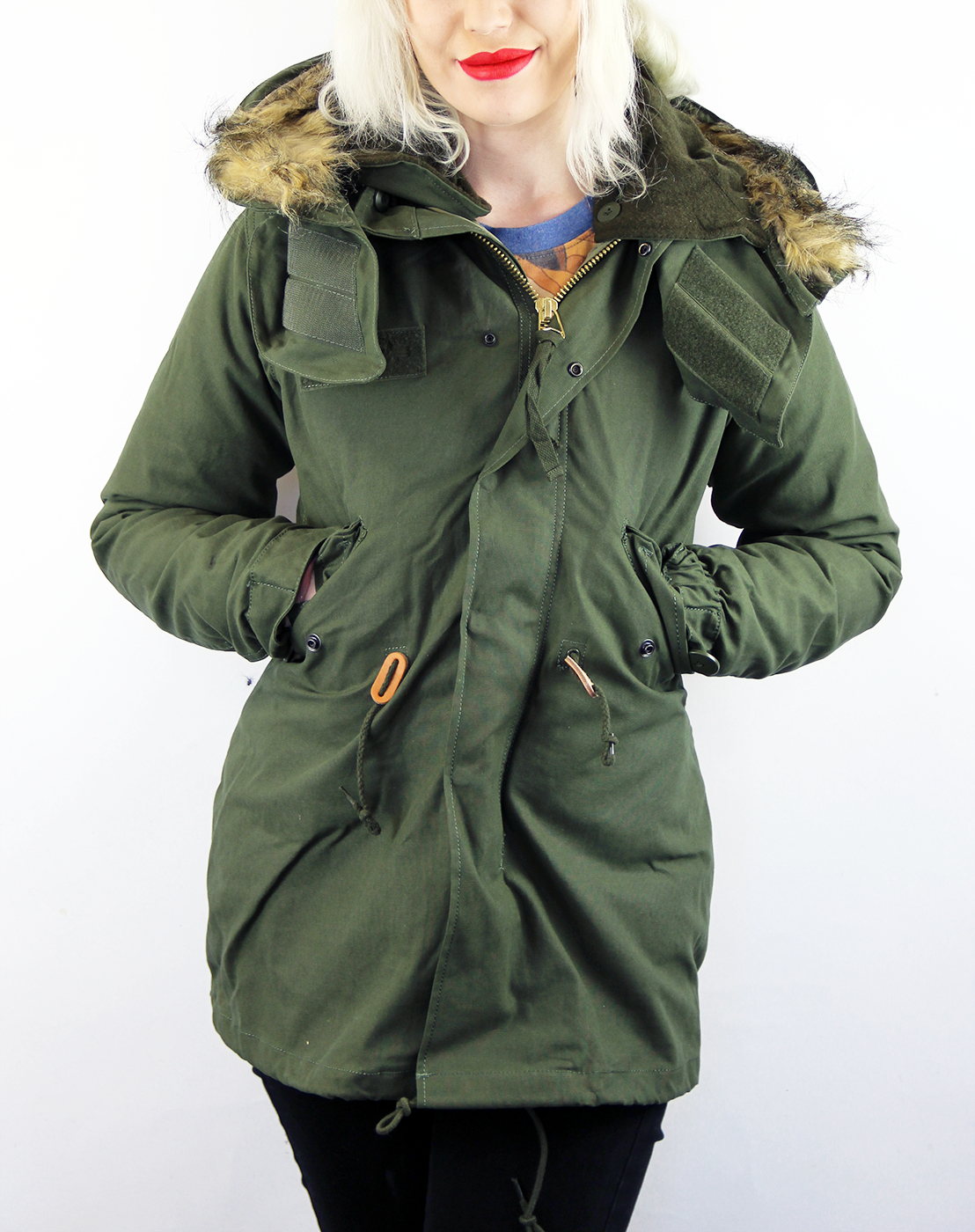 Alpha Industries Womens Vintage Fishtail M65 Parka in Olive