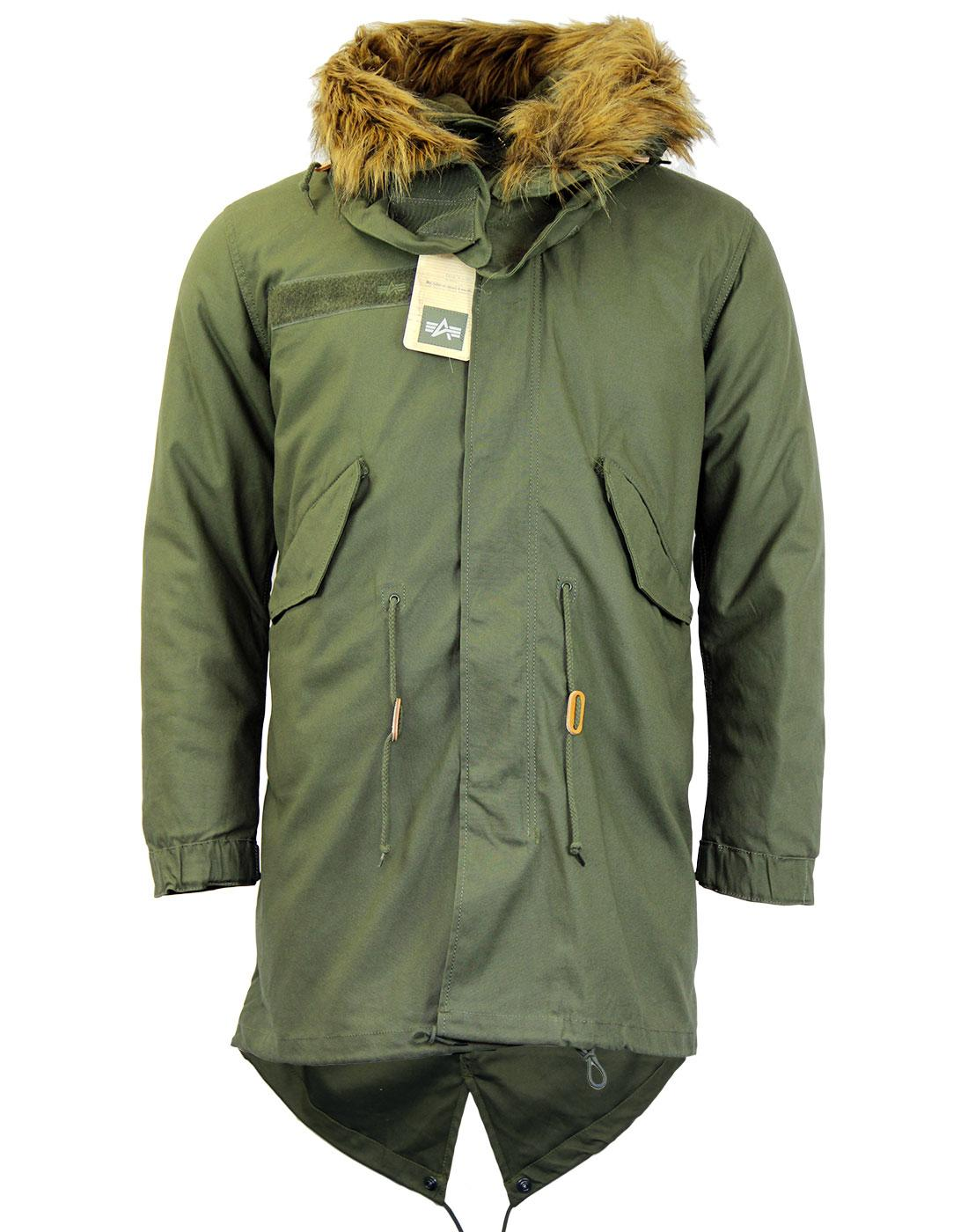 ALPHA INDUSTRIES 60s Mod Vintage Fishtail M65 Parka in Olive