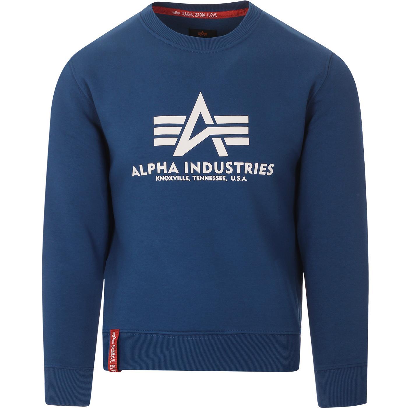 ALPHA INDUSTRIES Mens Logo Sweatshirt (Nasa Blue)