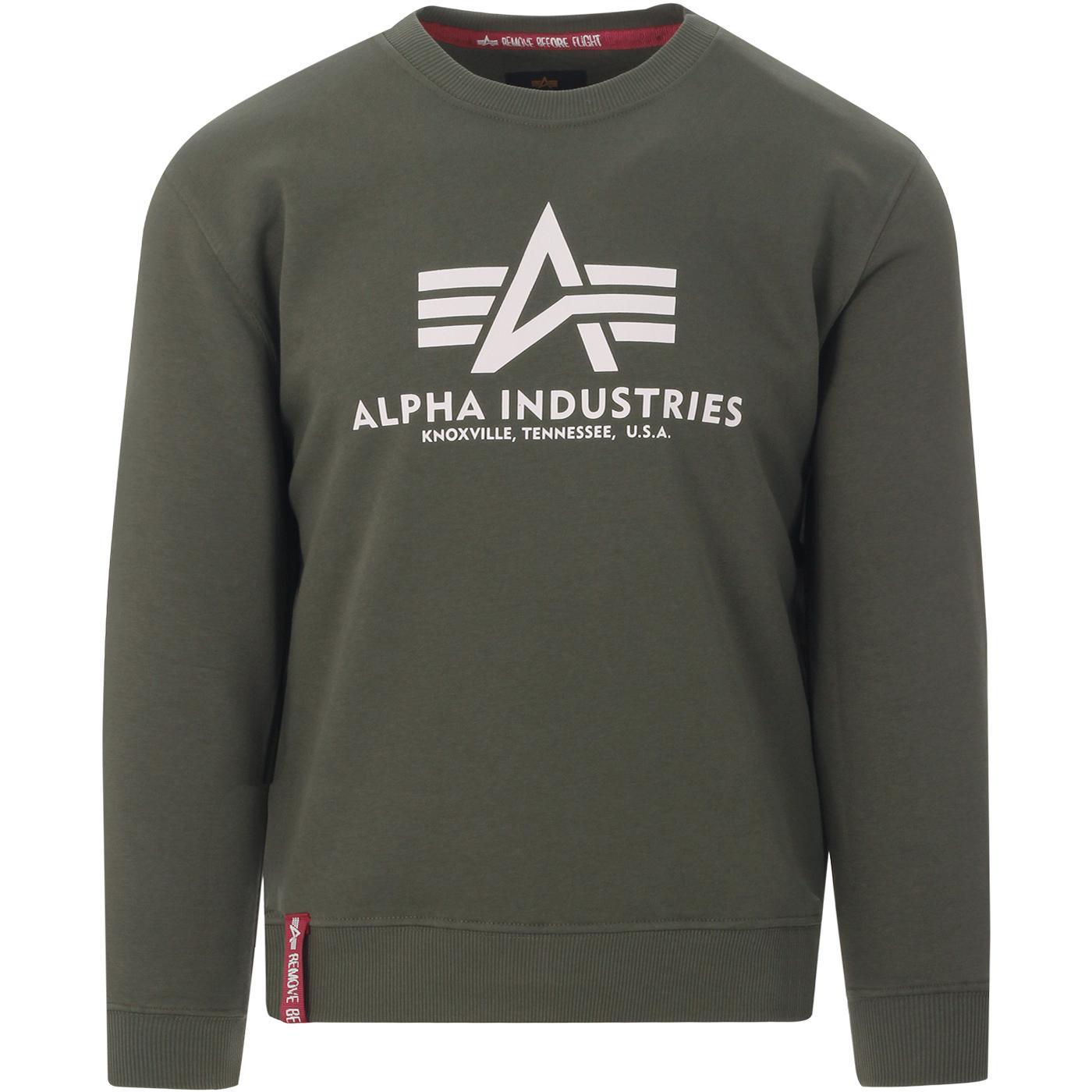 ALPHA INDUSTRIES Mens Logo Sweatshirt (Dark Olive)