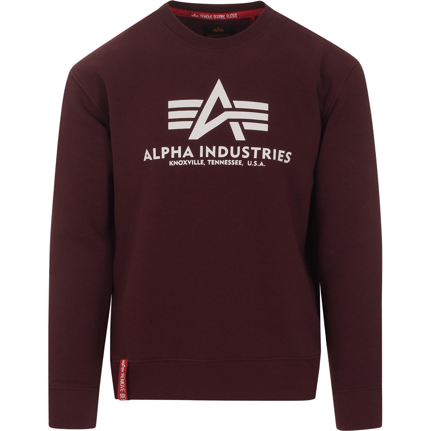 ALPHA INDUSTRIES Retro Crew Logo Sweatshirt MAROON