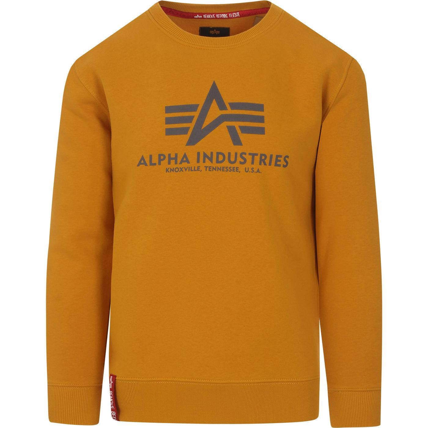 ALPHA INDUSTRIES Retro Crew Logo Sweatshirt WHEAT