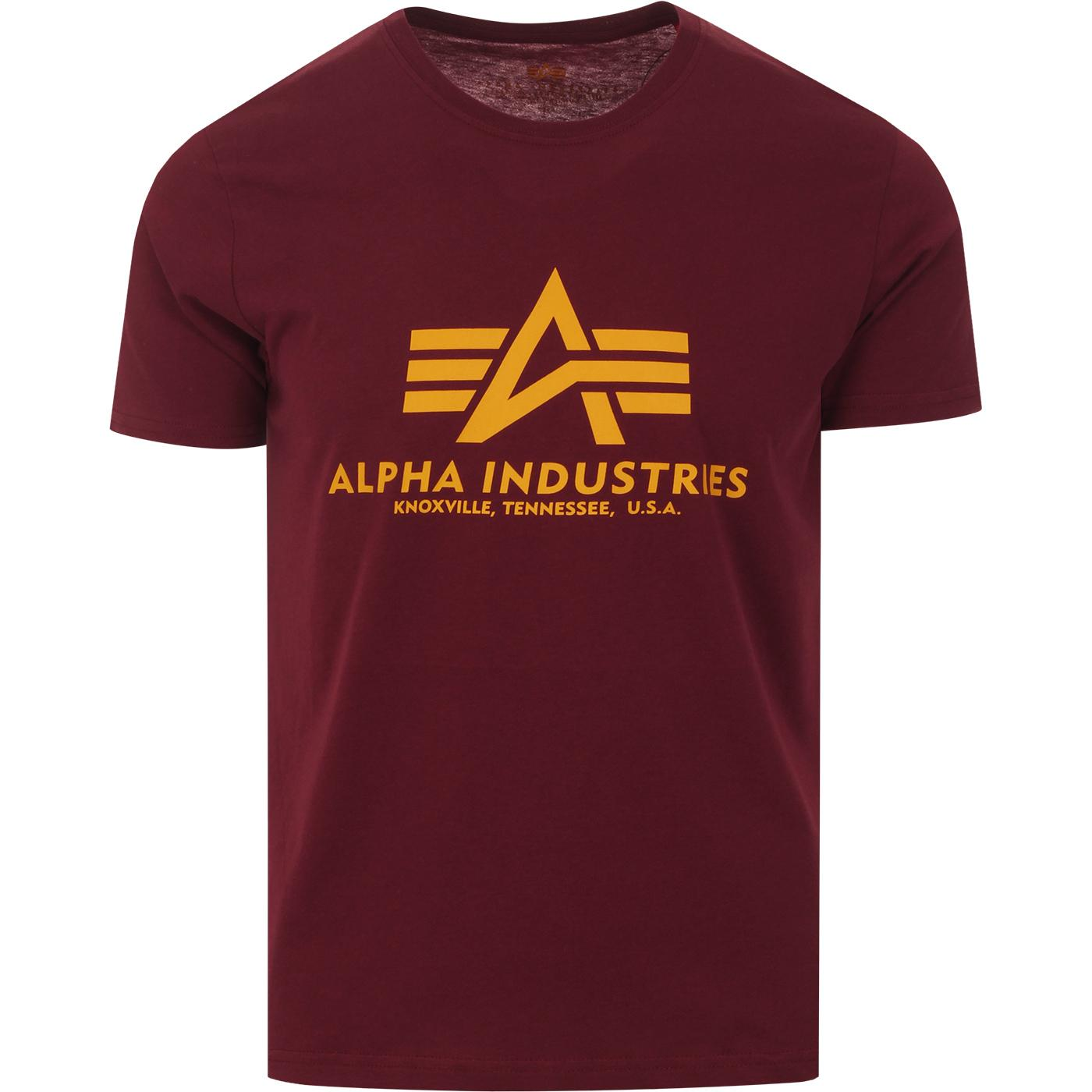 ALPHA INDUSTRIES Retro Logo Tee (Burgundy)