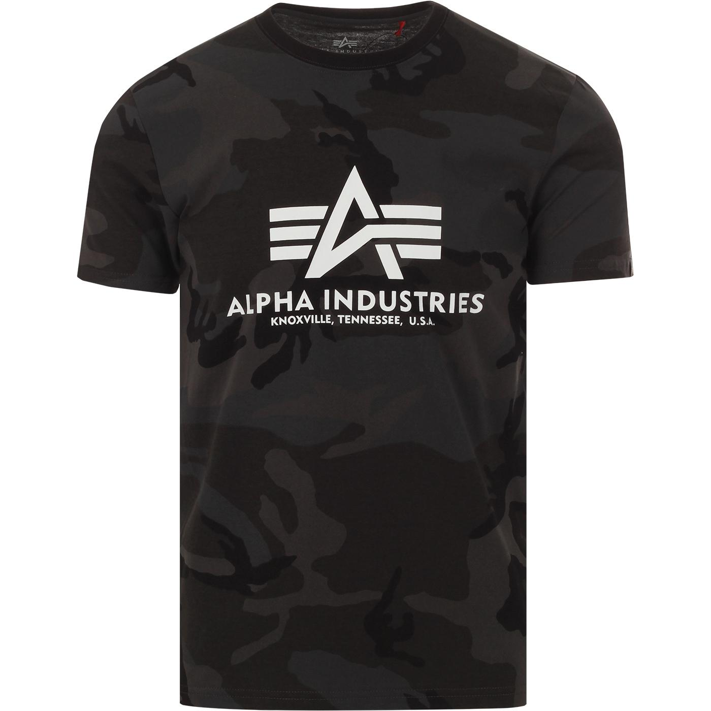 ALPHA INDUSTRIES Men's Retro Black Camo Logo Tee