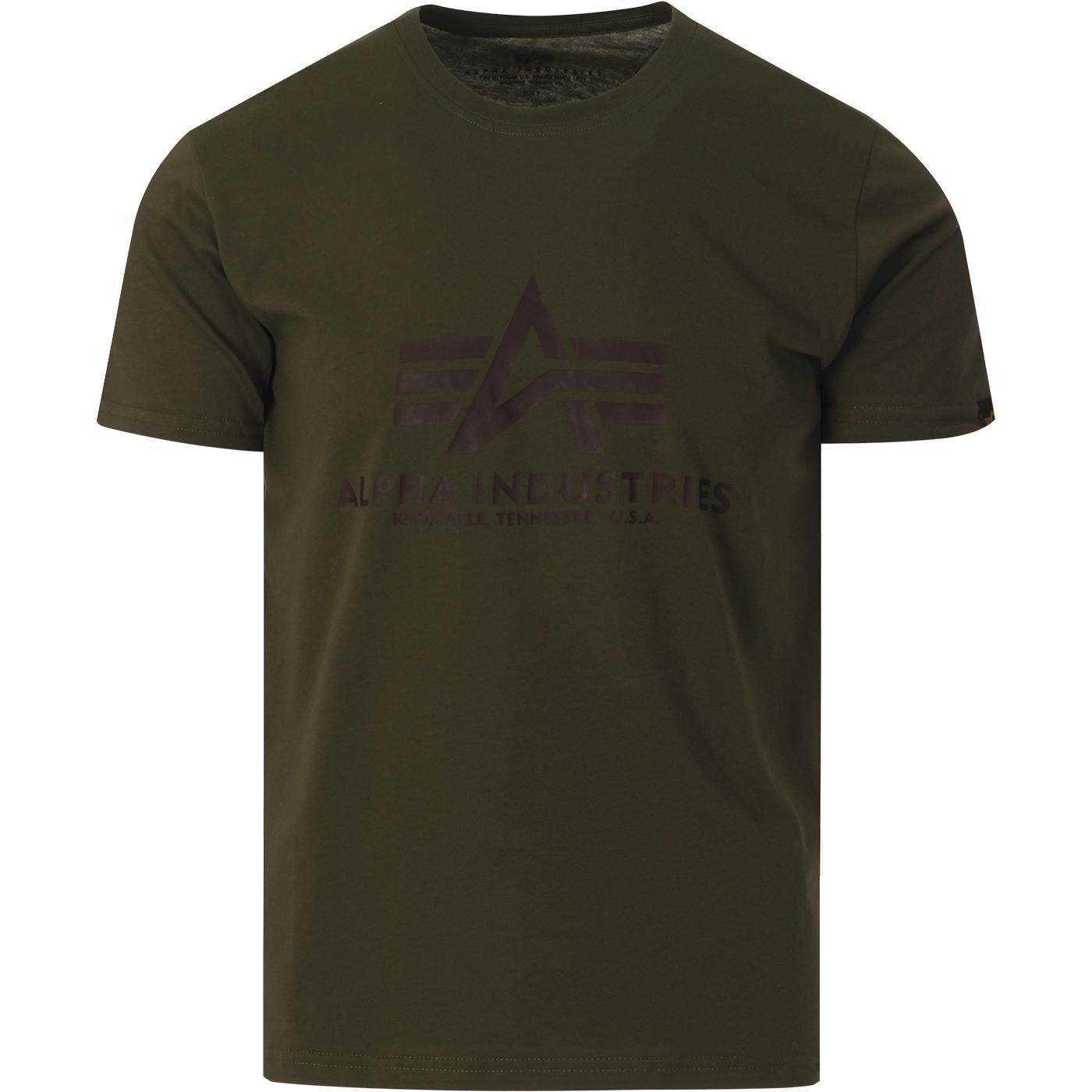 ALPHA INDUSTRIES Retro Logo Tee (Dark Green)