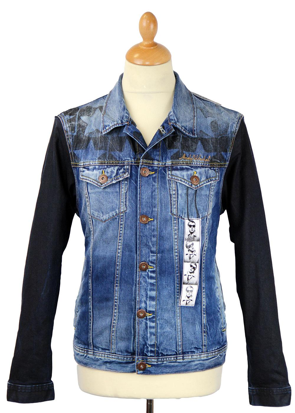 andy warhol by pepe jeans castelli retro mod denim jacket. Black Bedroom Furniture Sets. Home Design Ideas