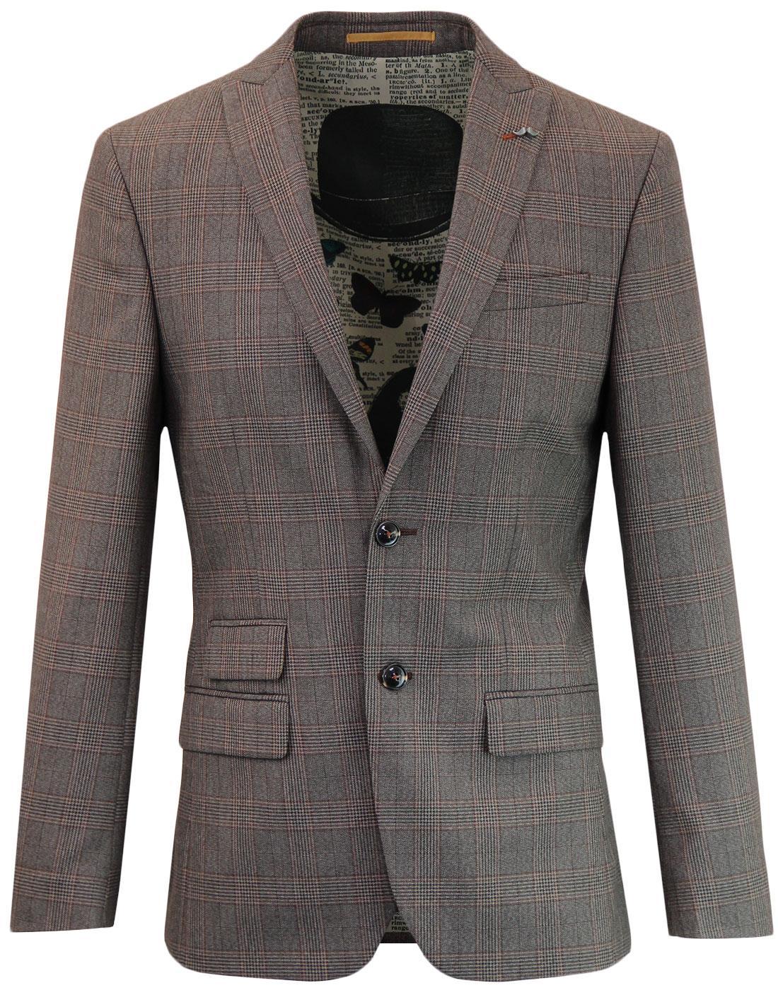 ANTIQUE ROGUE Mod 2 Button POW Check Suit Jacket F