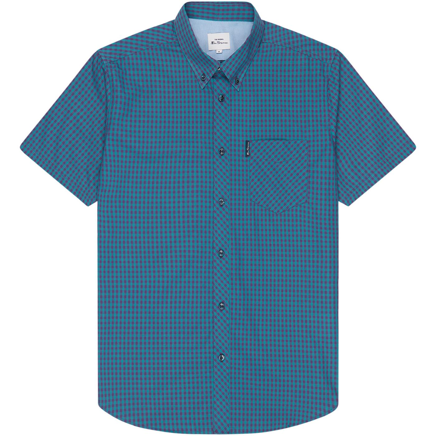 BEN SHERMAN Classic Mod SS Gingham Shirt (Plum)