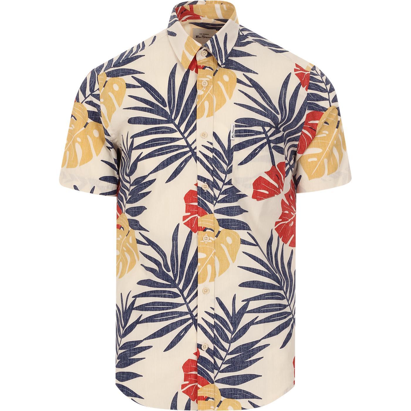 BEN SHERMAN Retro Reverse Palm Print Shirt (Mango)