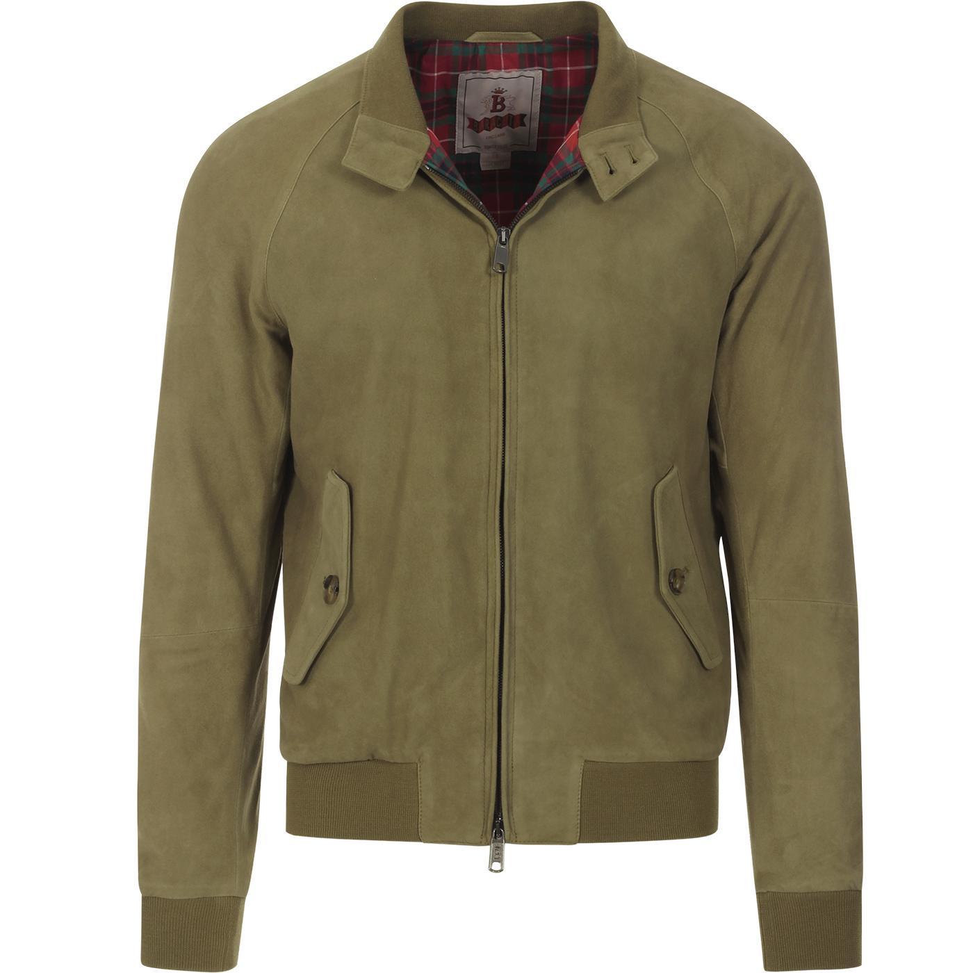 BARACUTA G9 Suede Mod Harrington Jacket Army Green
