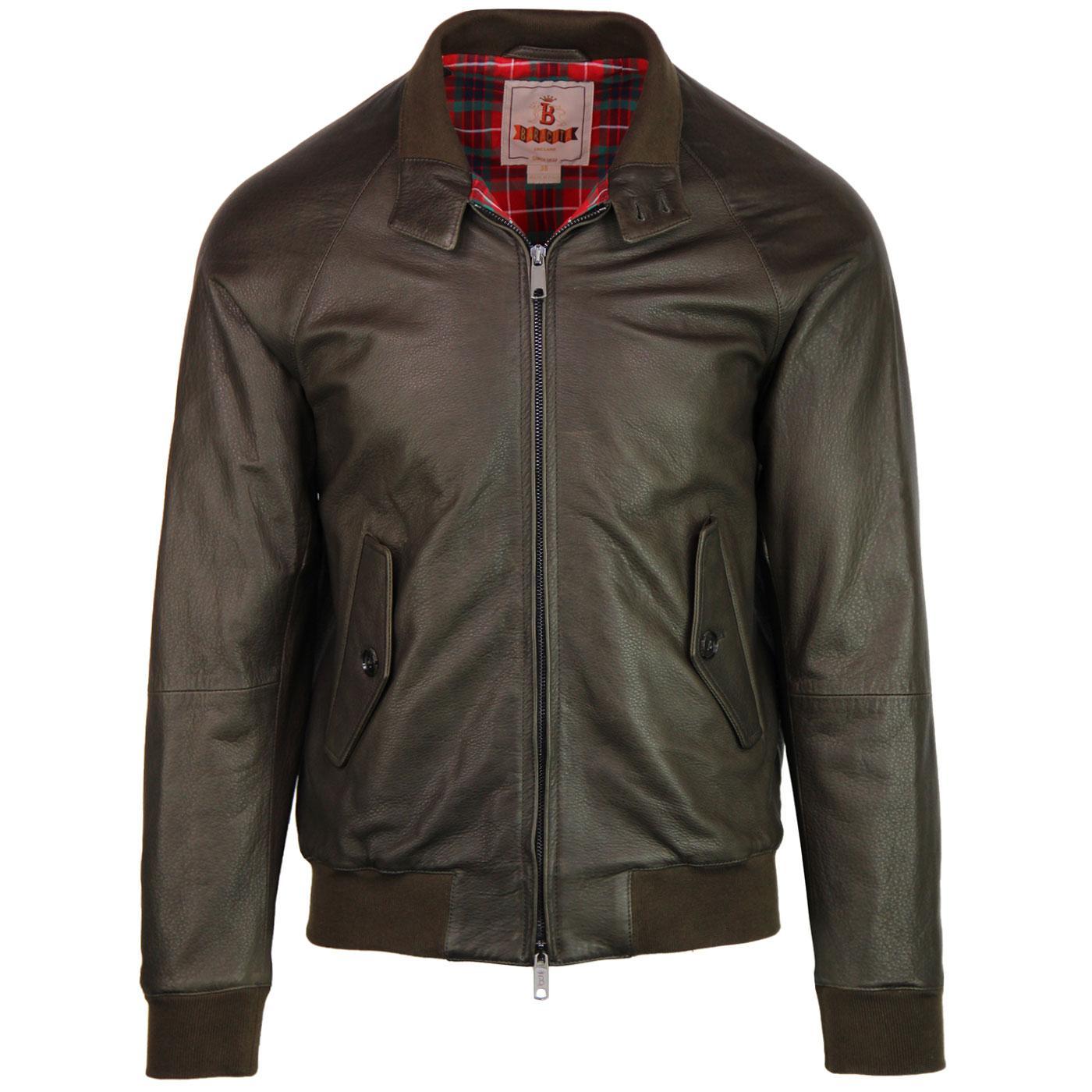 BARACUTA G9 Leather Mod Harrington Jacket (Taupe)