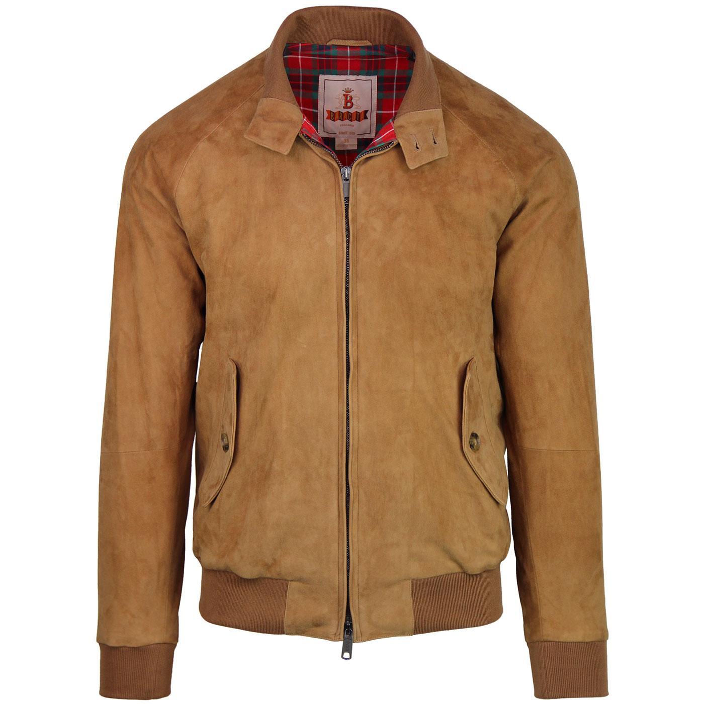 BARACUTA G9 Suede Mod Harrington Jacket (Tobacco)