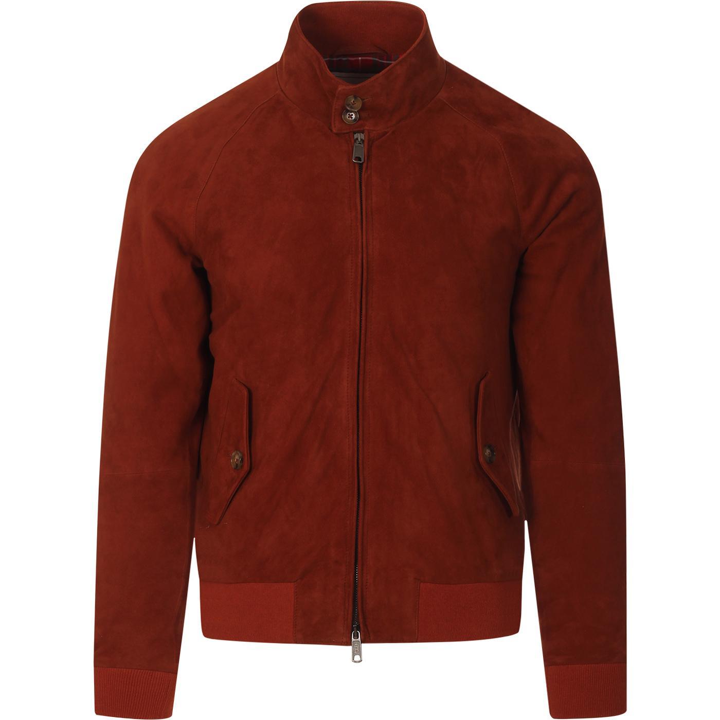 BARACUTA G9 Suede Retro Harrington Jacket (Rust)