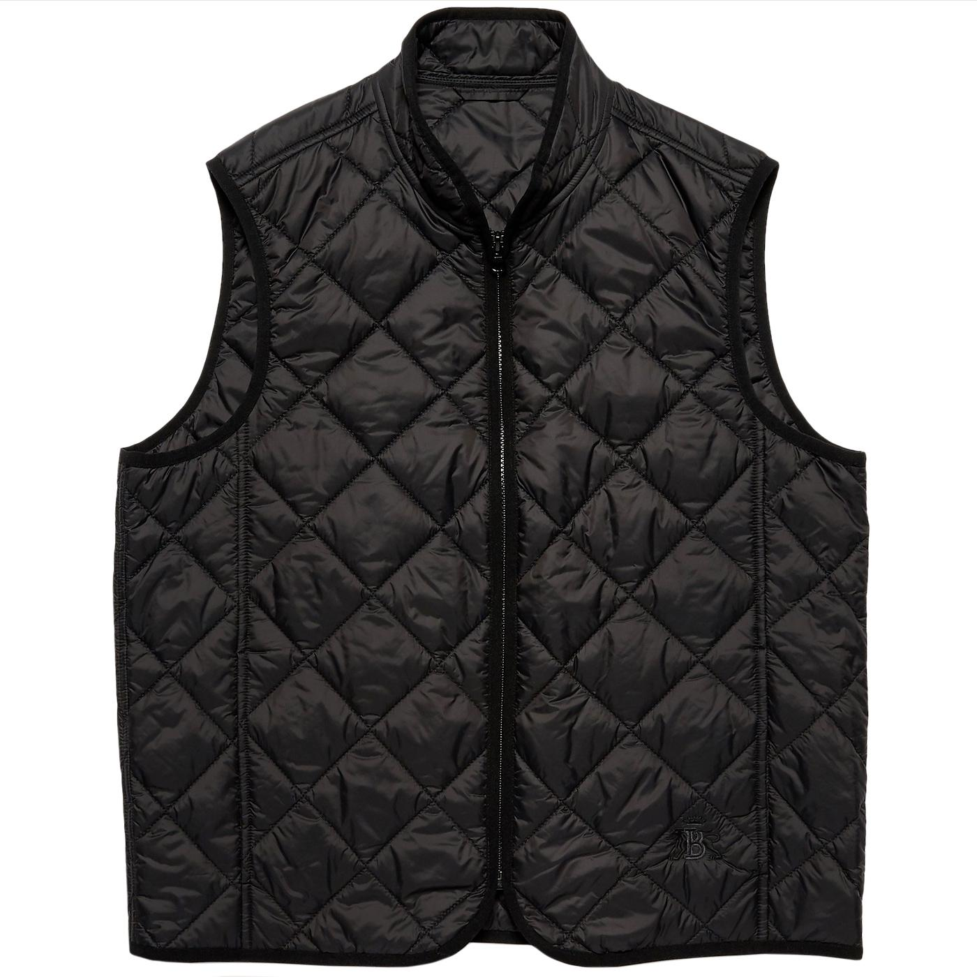 BARACUTA Retro Diamond Quilted Gilet (Black)