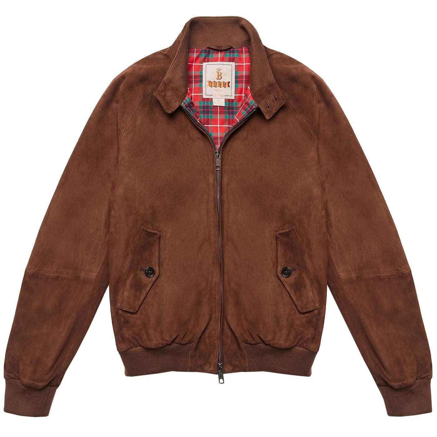 BARACUTA G9 Suede Mod Harrington Jacket CHOCOLATE