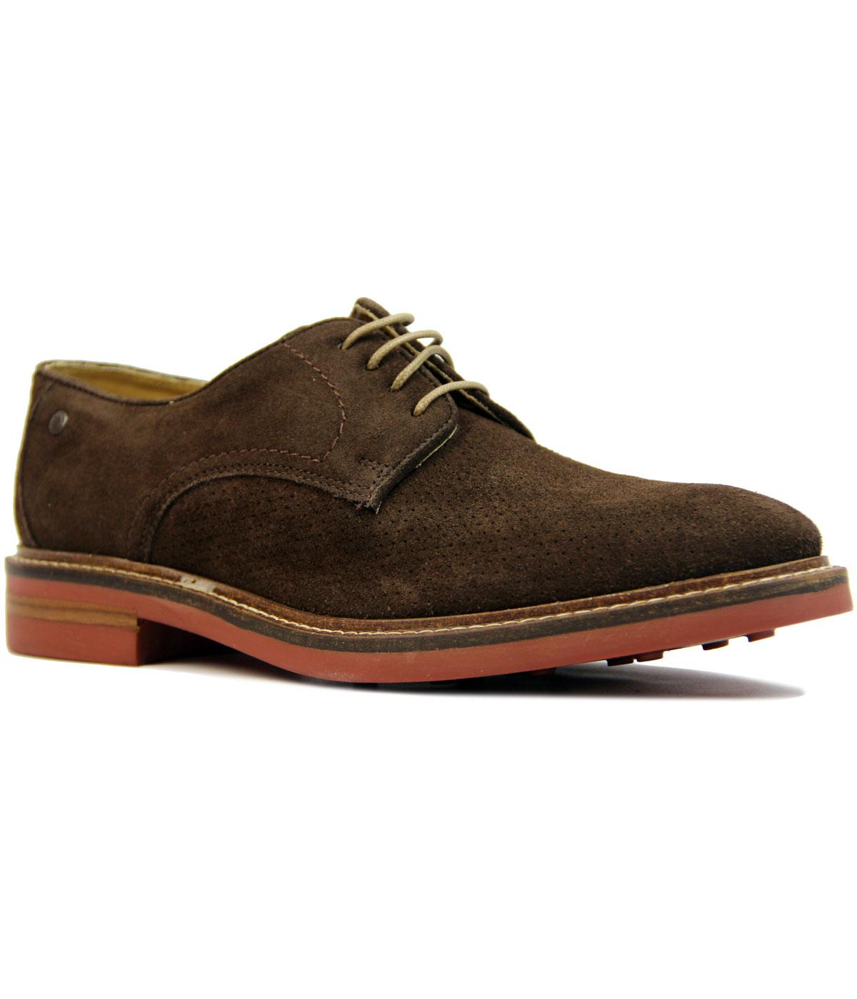 Stanford BASE LONDON Pin Punch Suede Derby Shoes