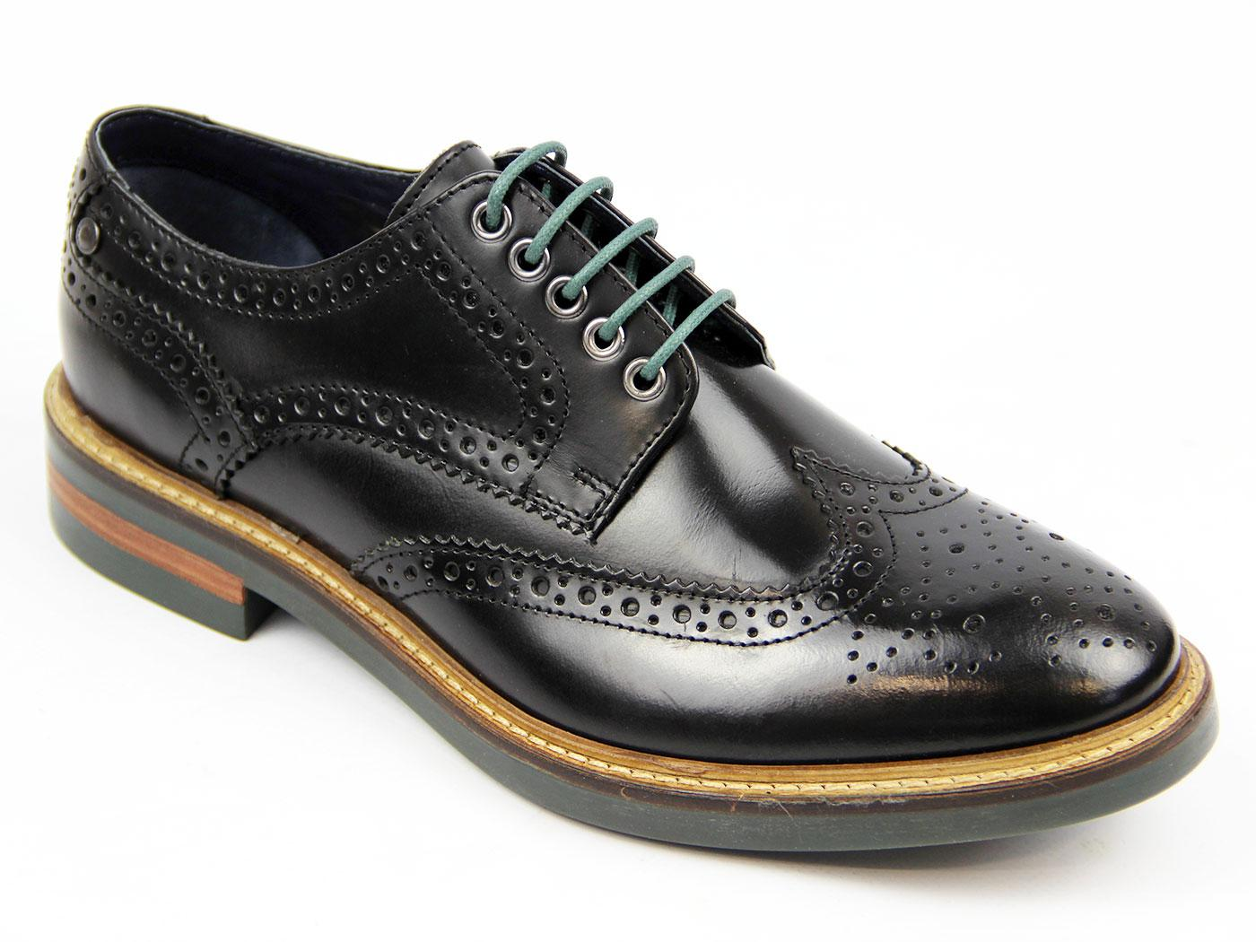 Woburn BASE LONDON Retro Mod Hi Shine Brogues (Bl)
