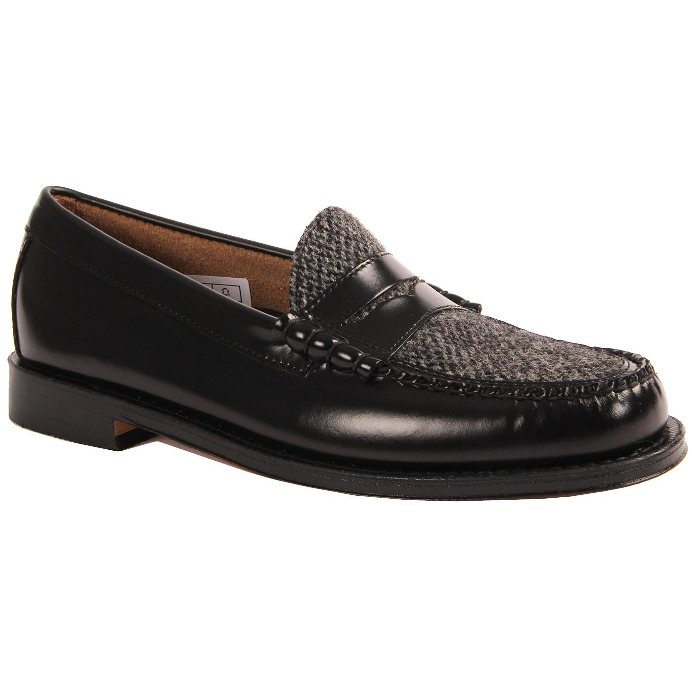 Larson BASS WEEJUNS Mod Tweed Penny Loafers Black