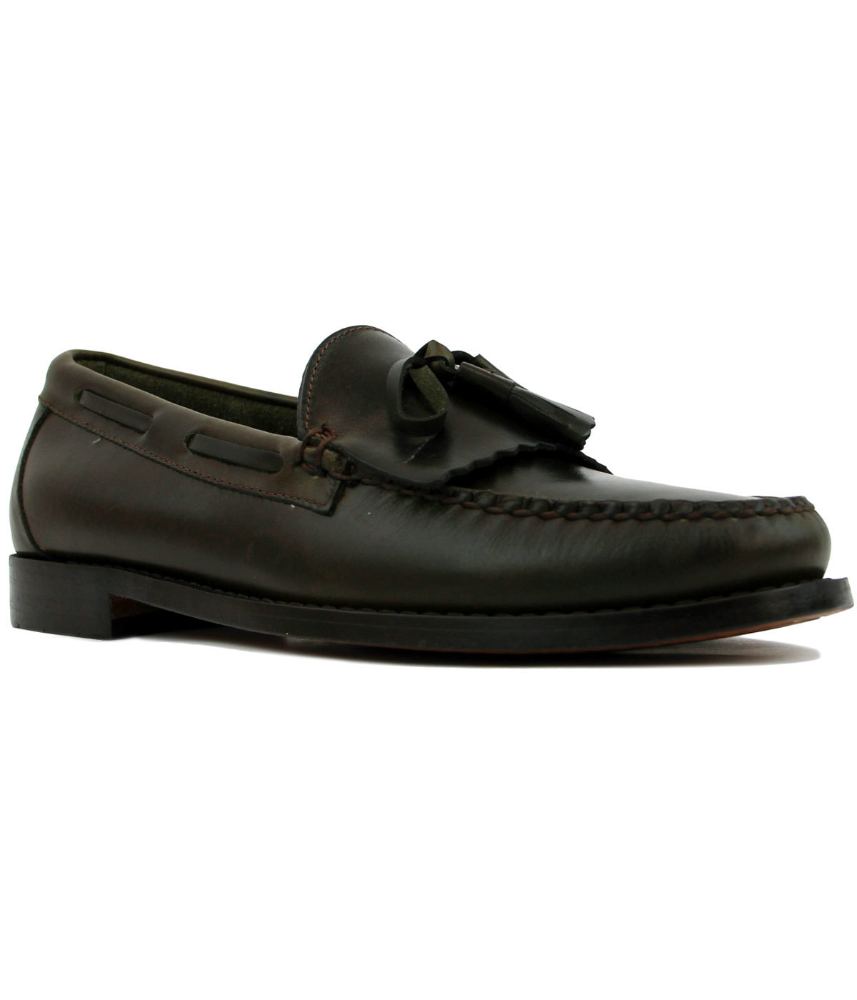 Layton Pull Up BASS WEEJUNS Fringe Loafers GREEN
