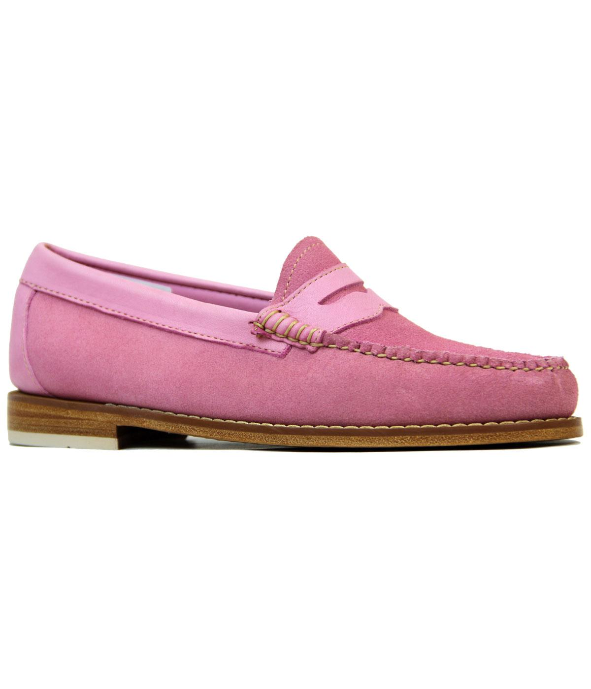 BASS WEEJUNS Womens Mod Velour Suede Penny Loafers