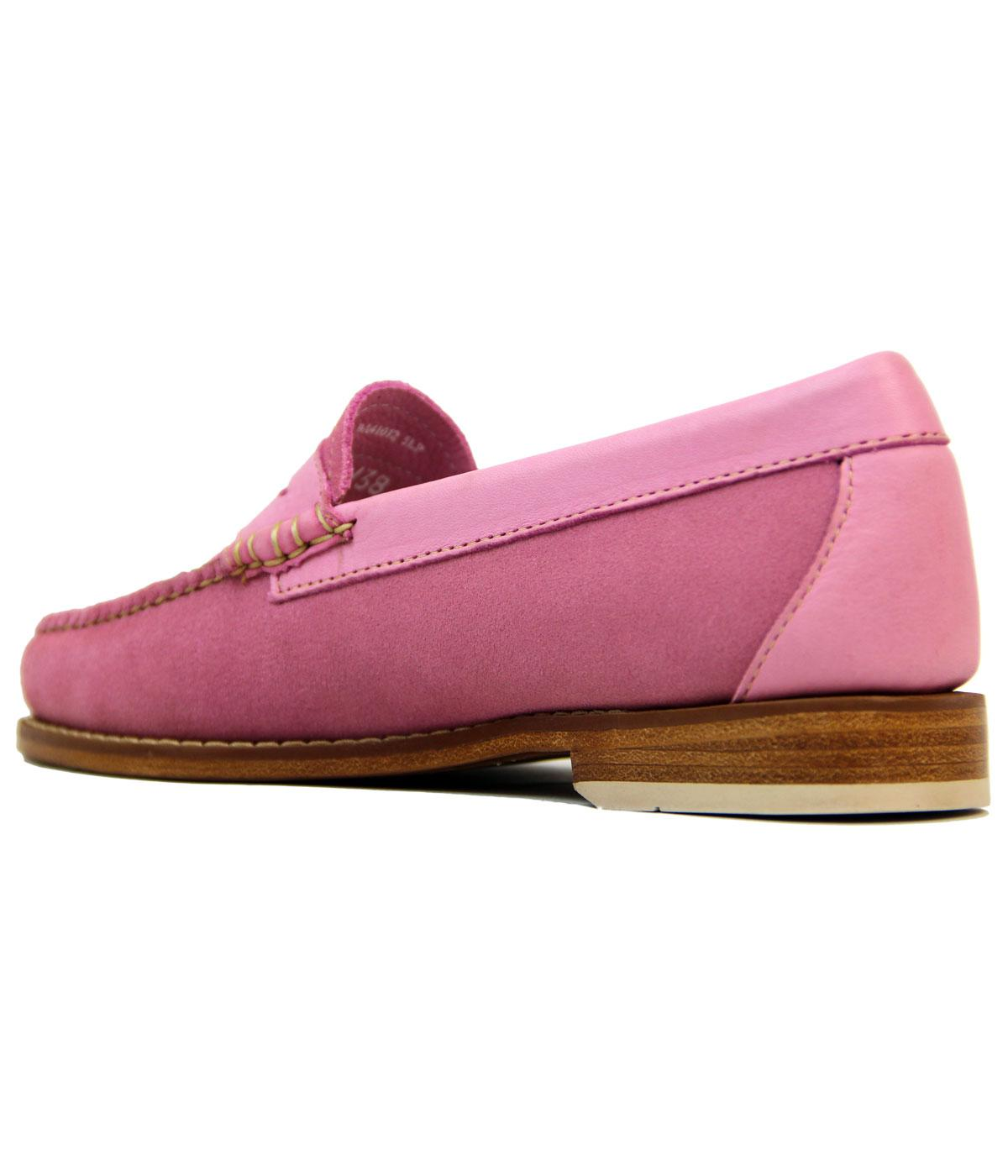 BASS WEEJUNS Womens Retro 60s Mod Velour Suede Penny ...