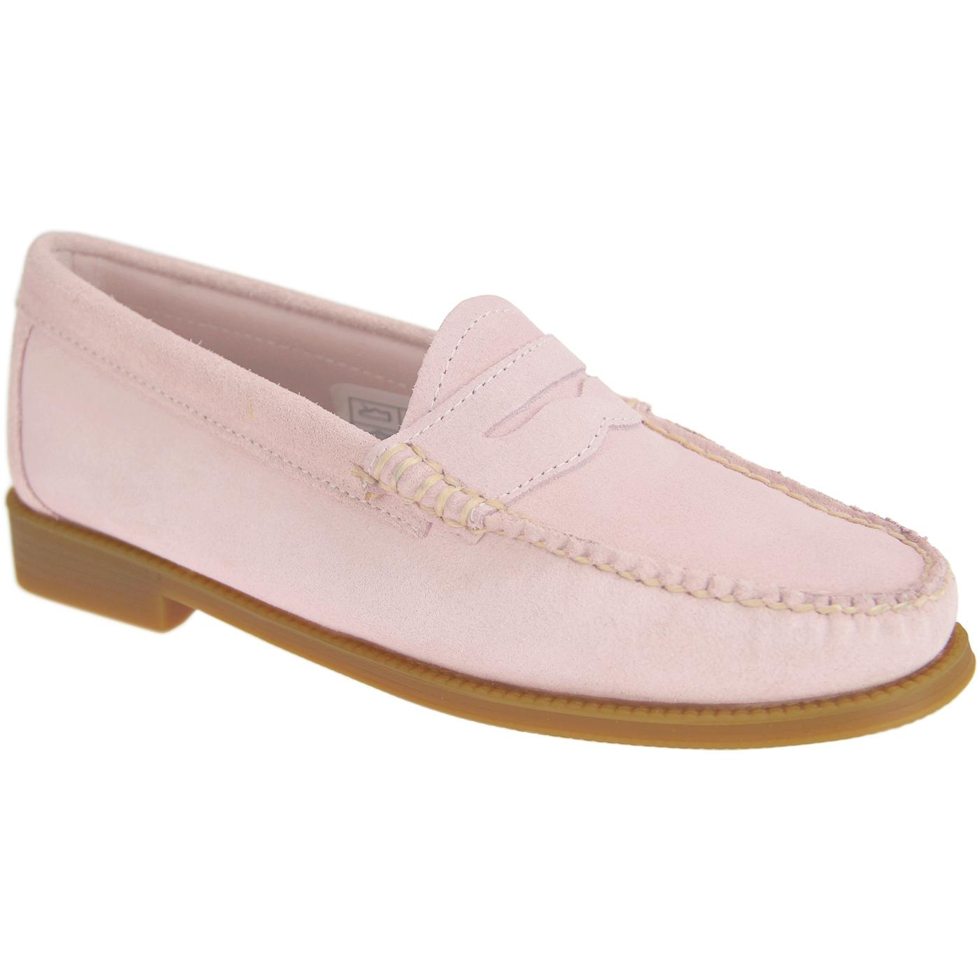 BASS WEEJUNS Women's Retro Suede Penny Loafers in Pink