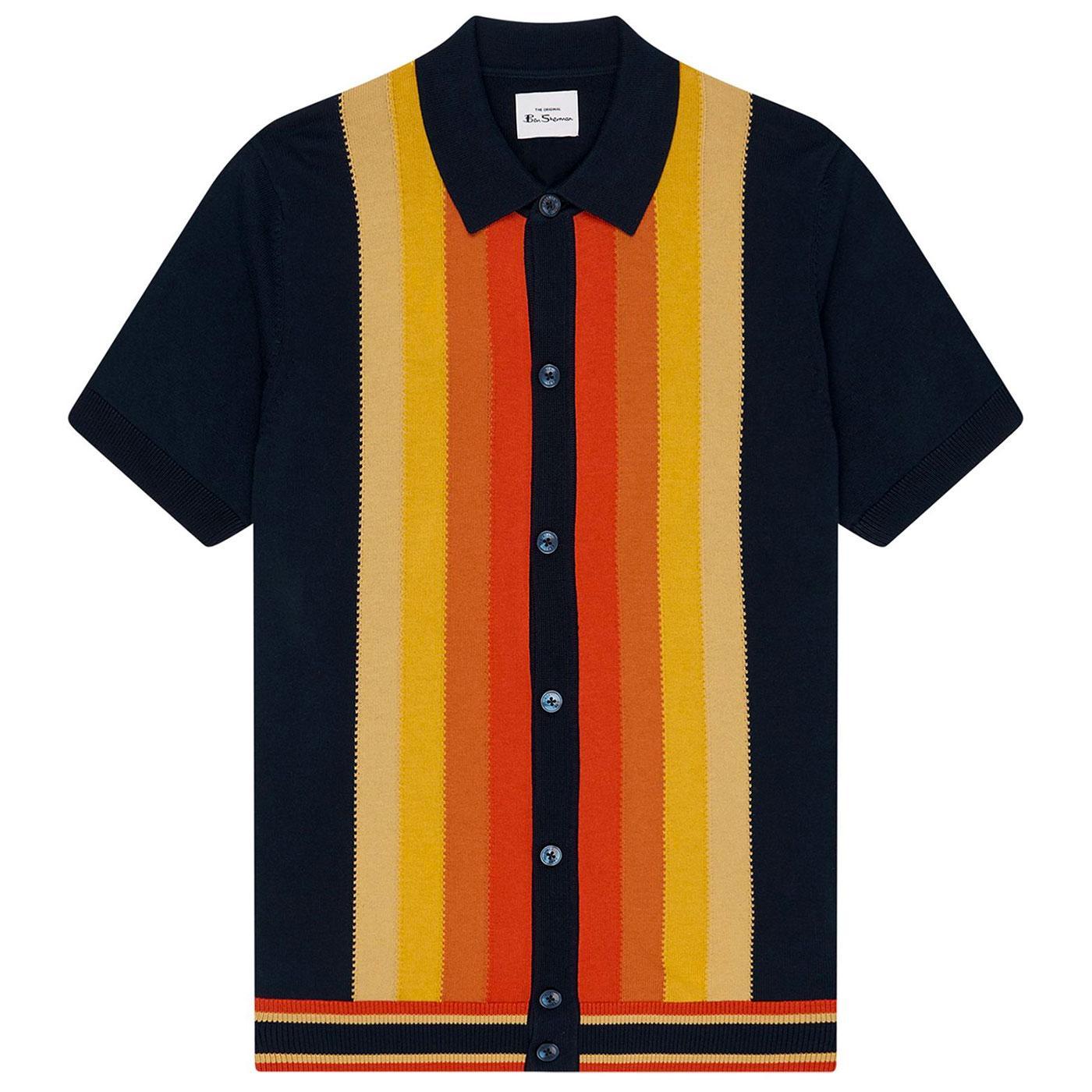 BEN SHERMAN Retro 60s Mod Gradient Polo Cardigan N
