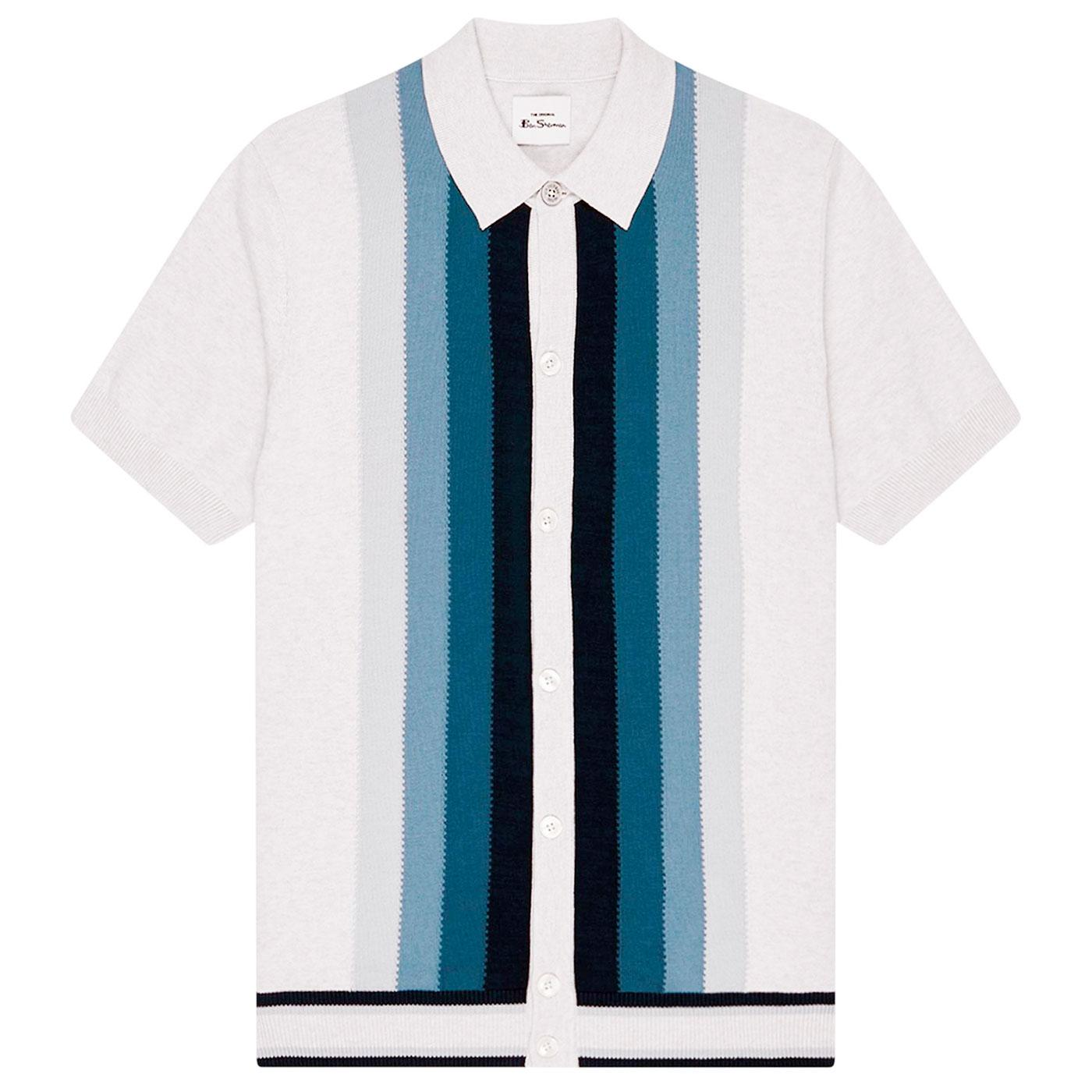 BEN SHERMAN Retro 60s Mod Gradient Polo Cardigan I