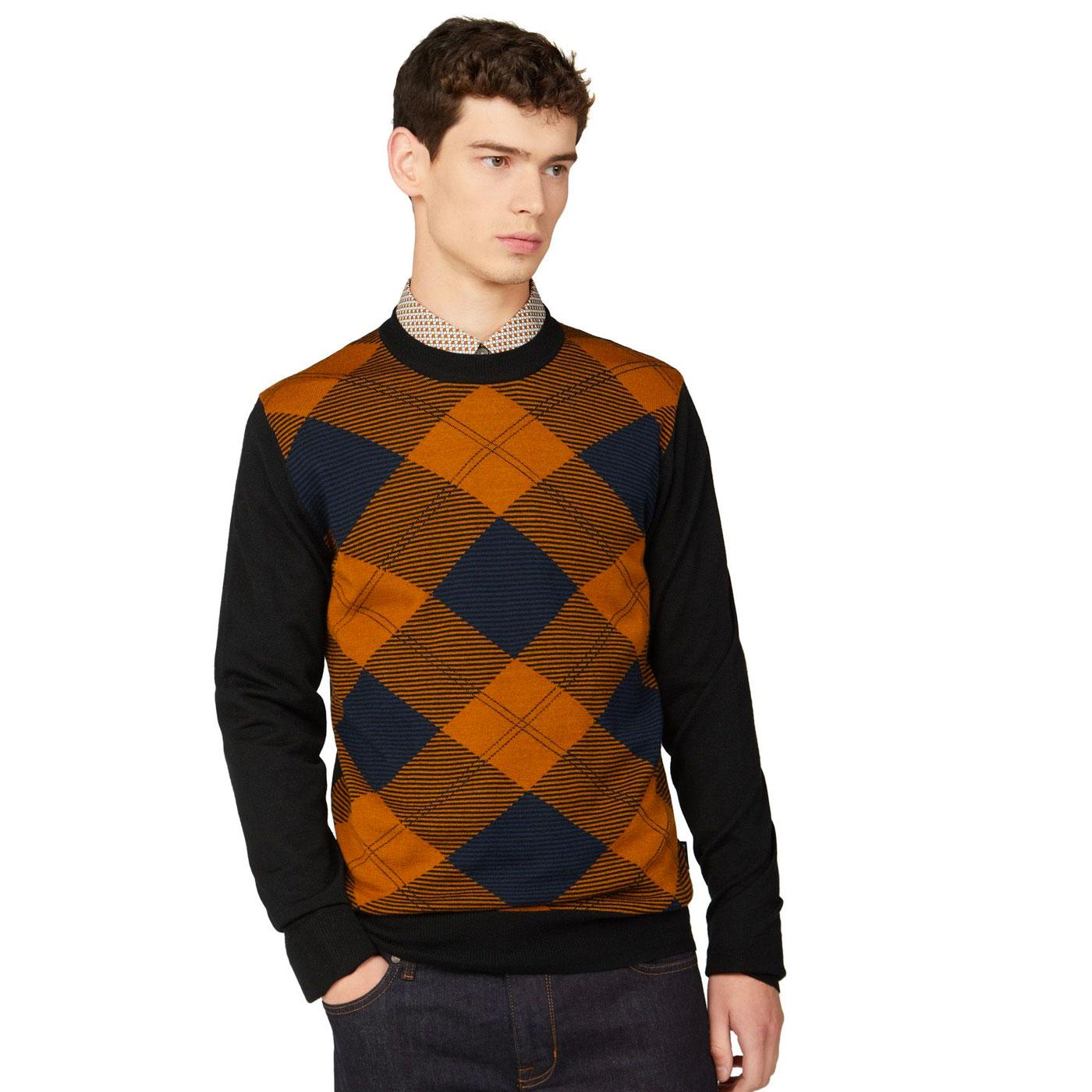 BEN SHERMAN Men's Retro Mod Argyle Knitted Jumper