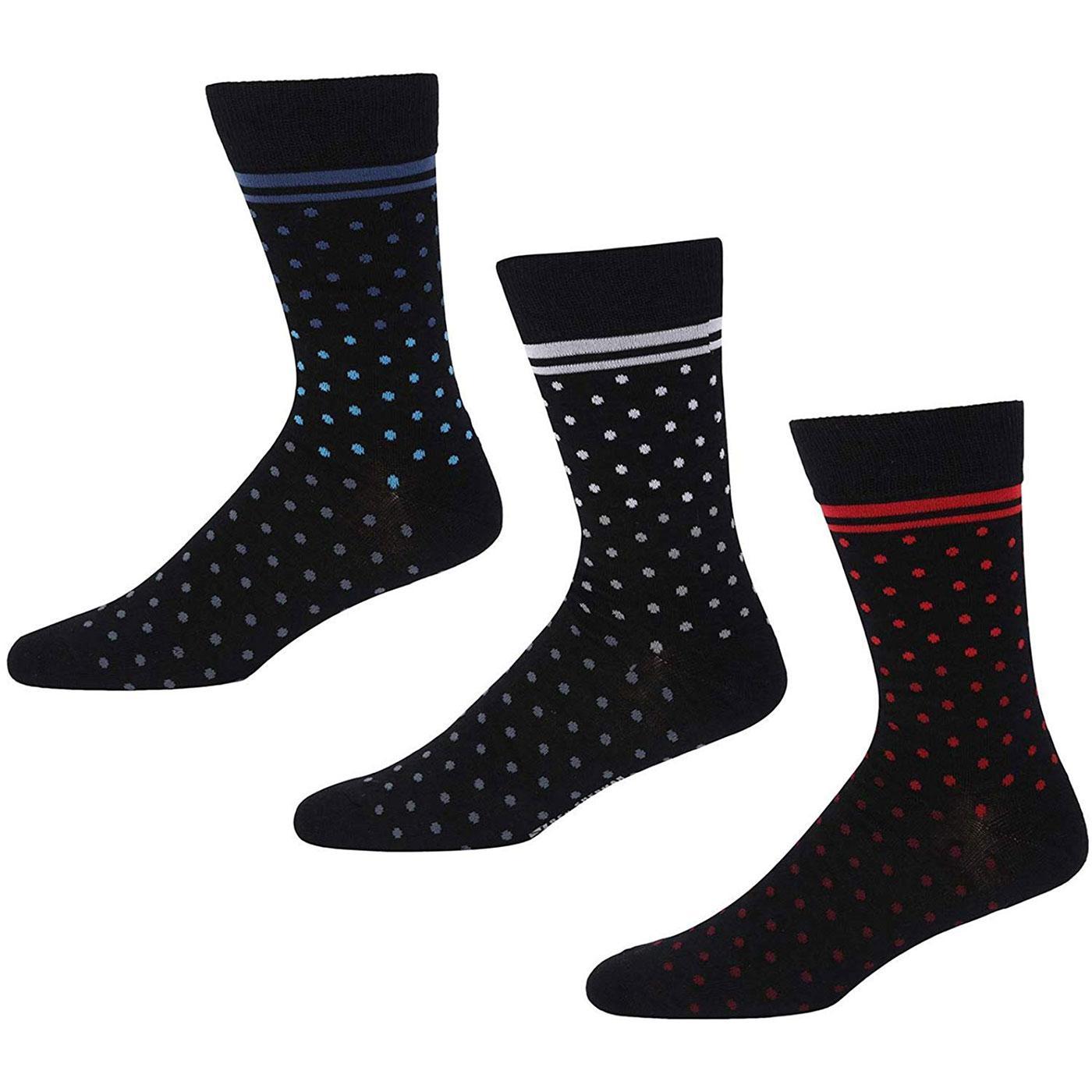 Arkle BEN SHERMAN Spots & Stripes 3 Pack Socks (B)