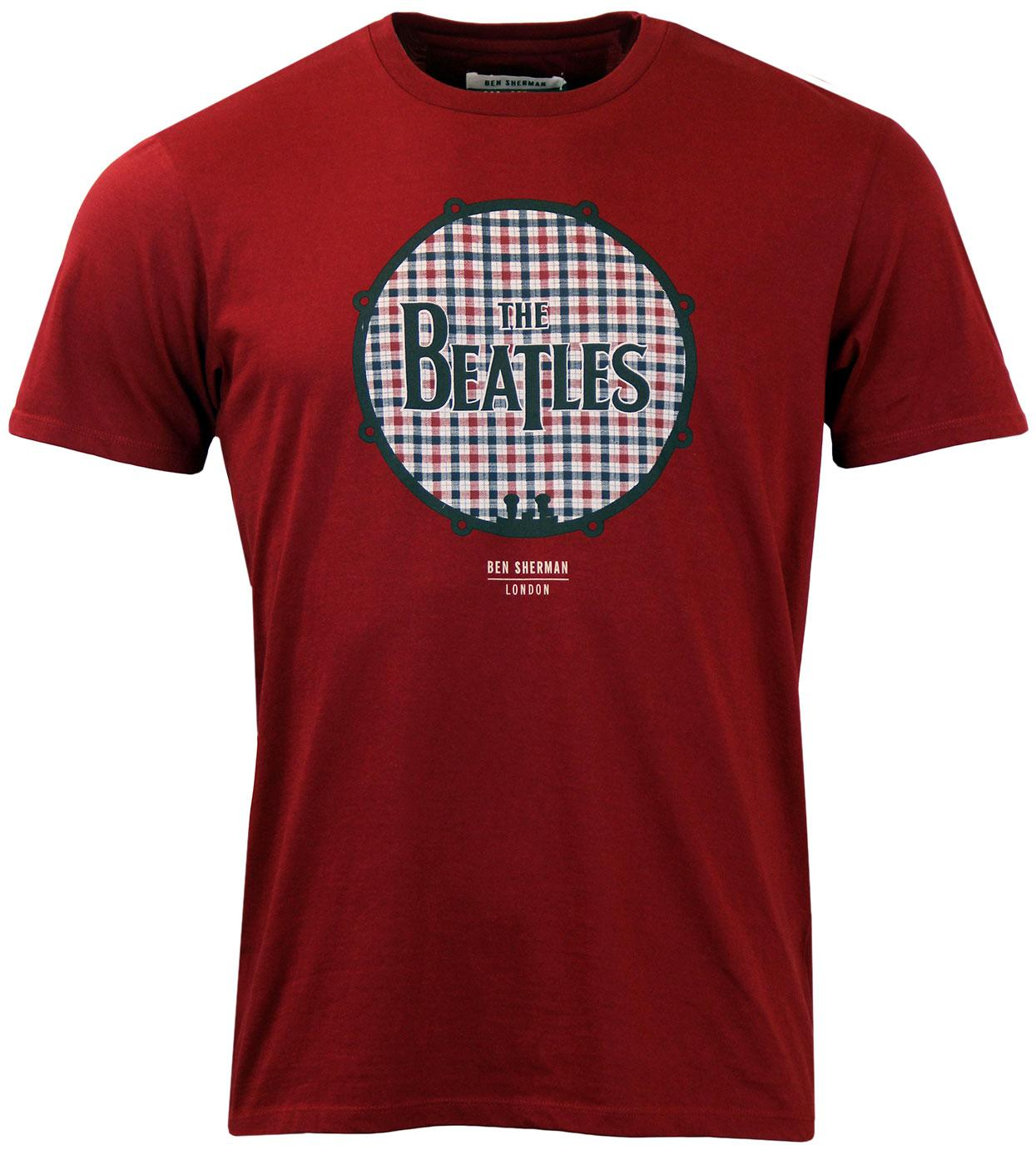 BEN SHERMAN The Beatles Gingham Drum Retro T-shirt