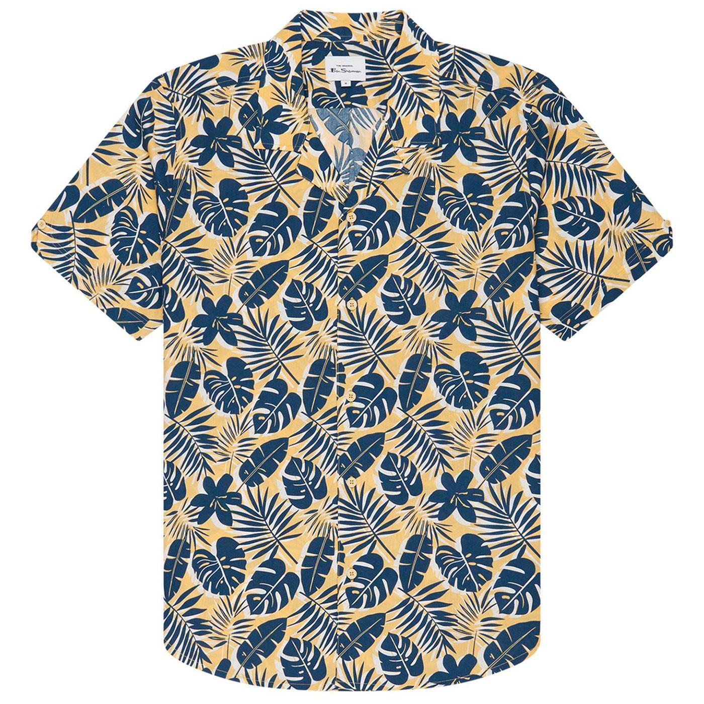 BEN SHERMAN Retro Botanical Print Resort Shirt