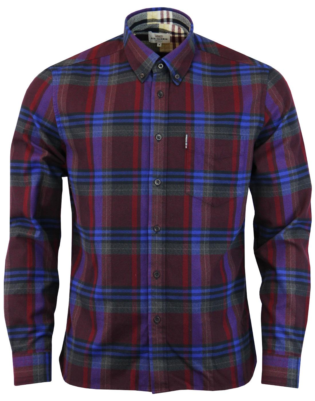 BEN SHERMAN Mens 60s Mod Brushed Crepe Check Shirt