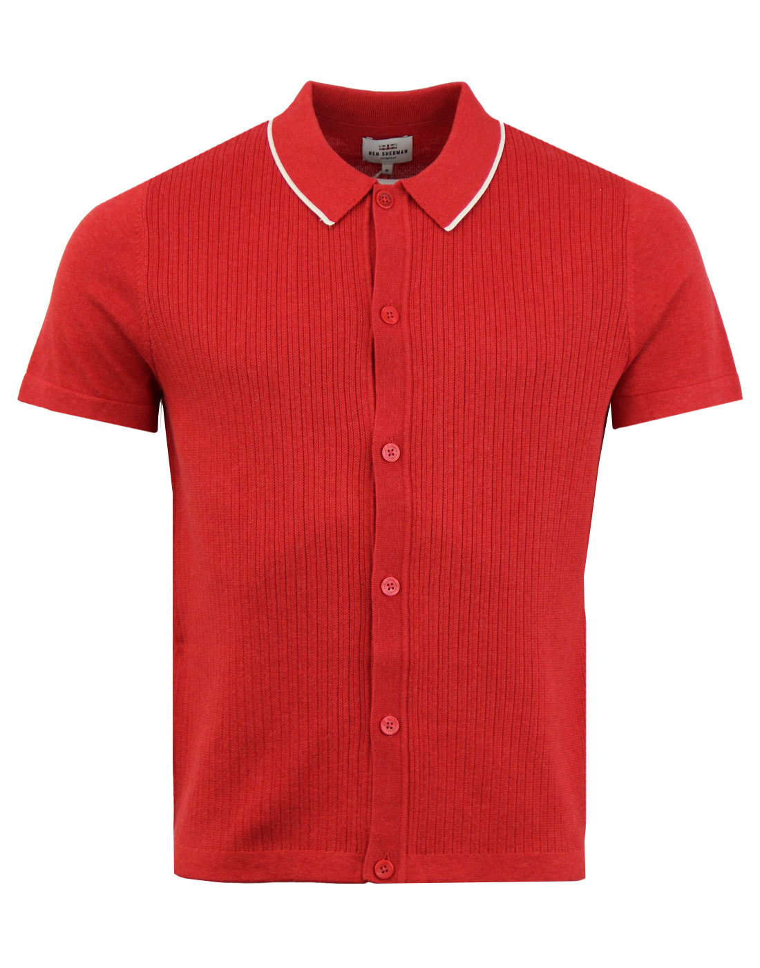 BEN SHERMAN 60s Mod Ribbed Knit SS Polo Cardigan