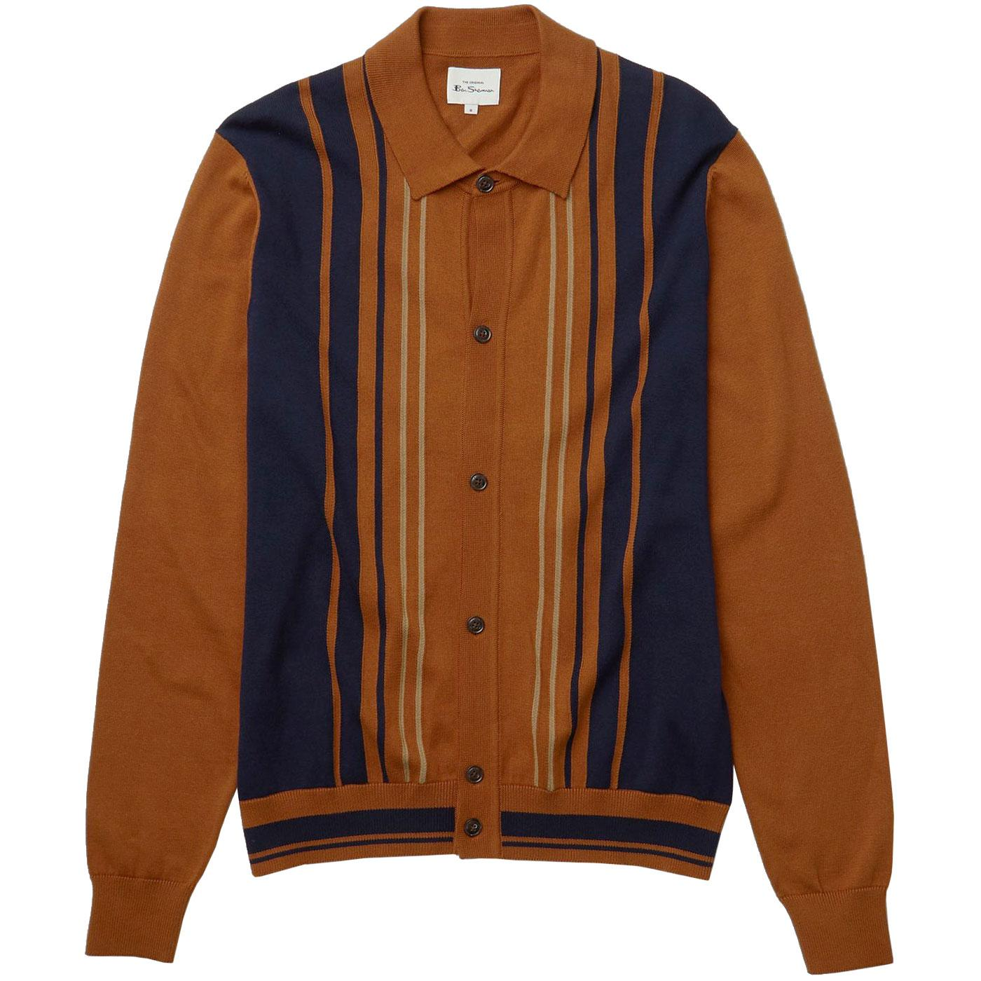 BEN SHERMAN Mod Stripe Knitted Button Through Polo
