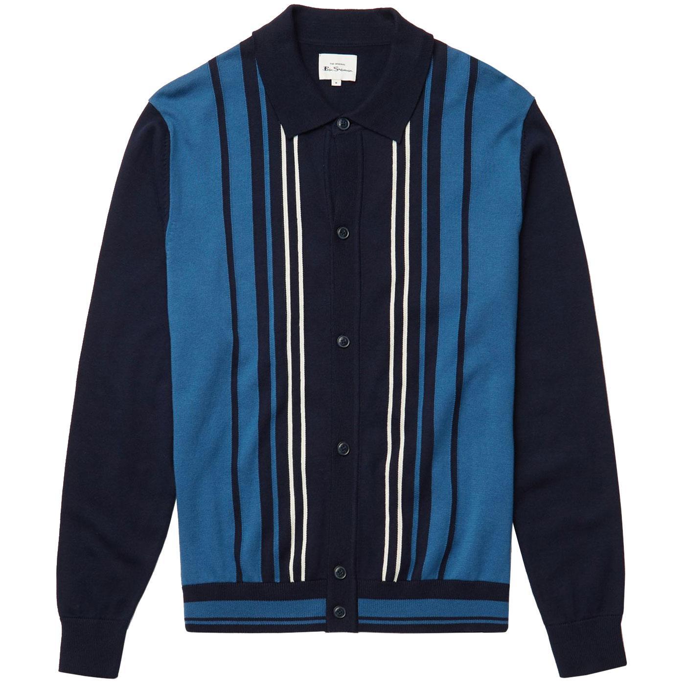 BEN SHERMAN Knitted Stripe Button Through Polo M