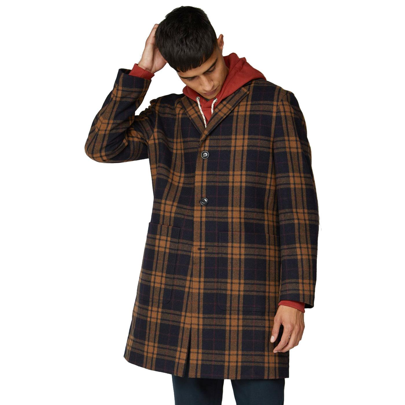 BEN SHERMAN Men's Retro Tailored Check Overcoat