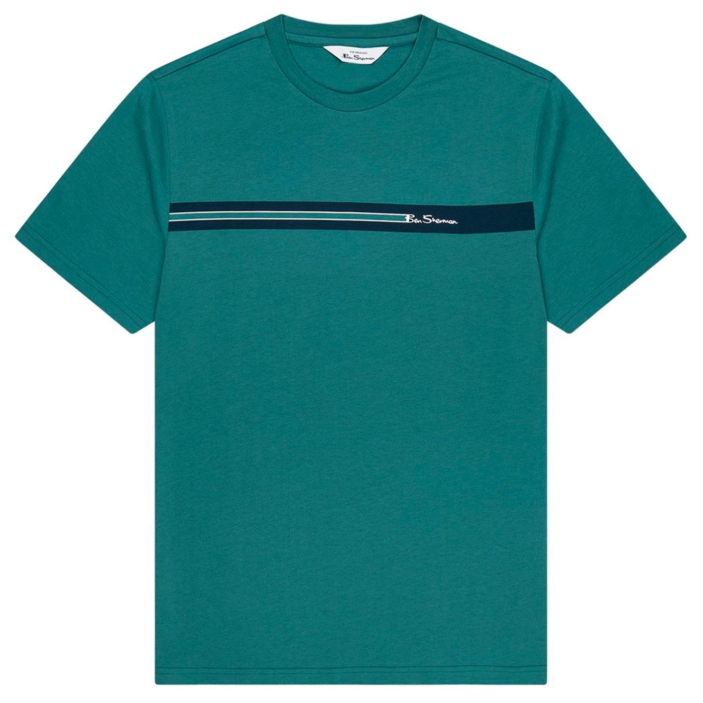 BEN SHERMAN Retro 90s Chest Stripe Tee in Teal