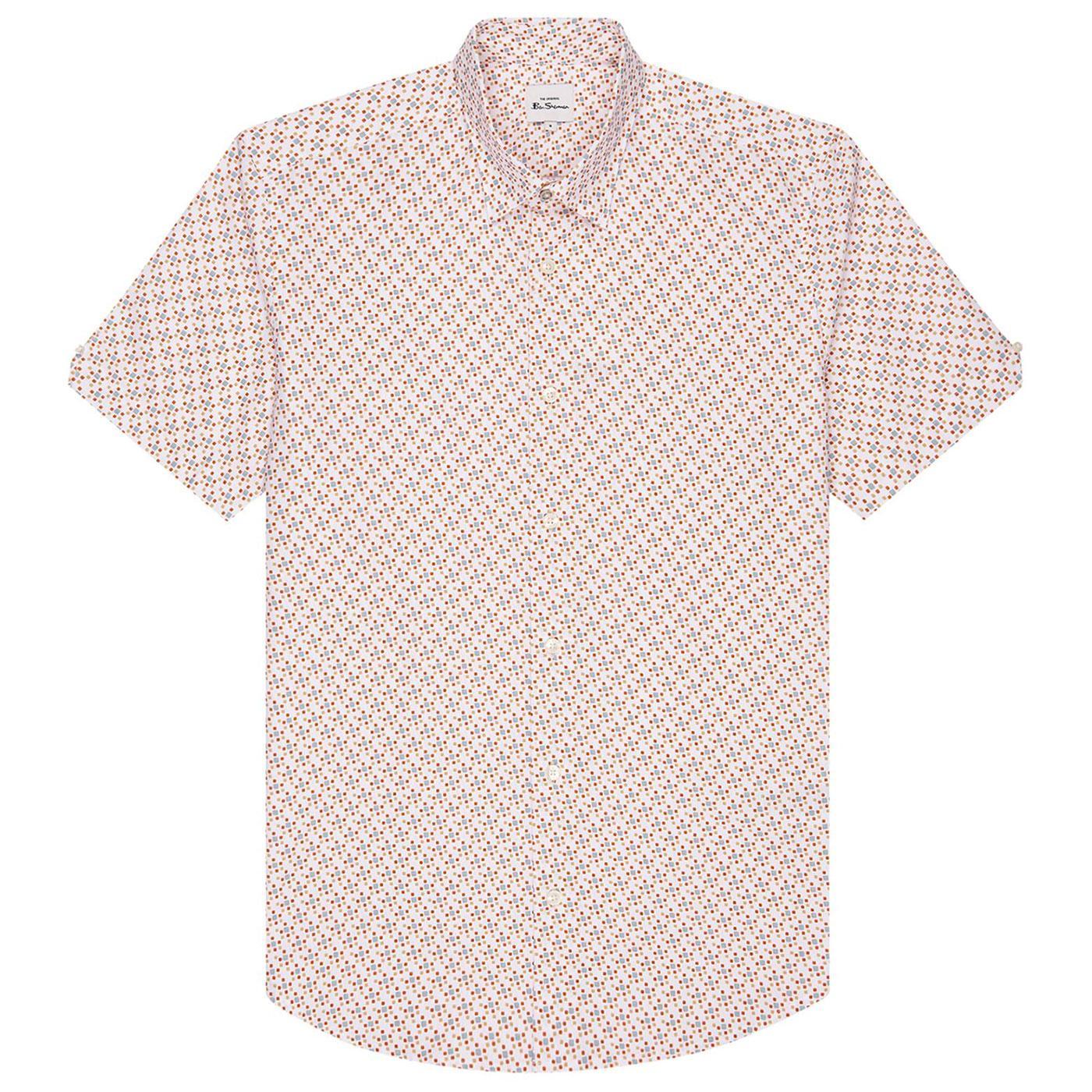 BEN SHERMAN Retro Mod 60s Faded Square Print Shirt