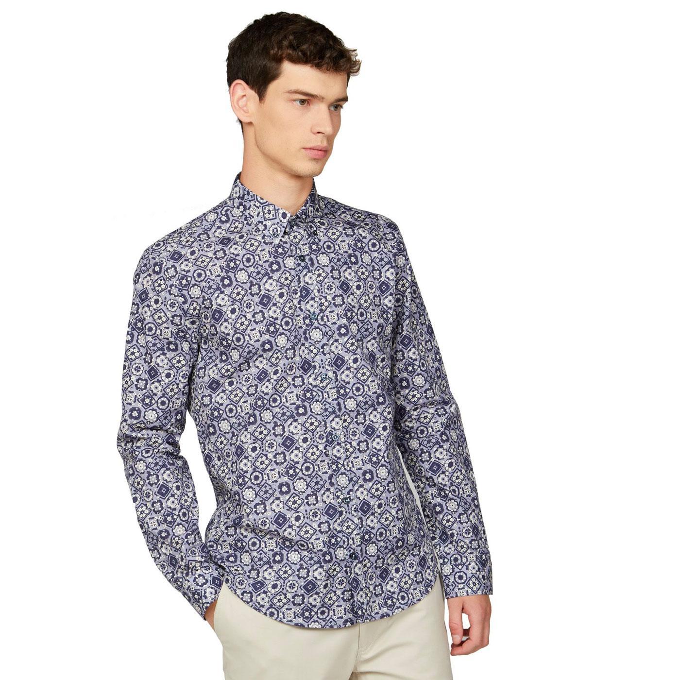 BEN SHERMAN Retro 60s Foulard Print Shirt - Violet