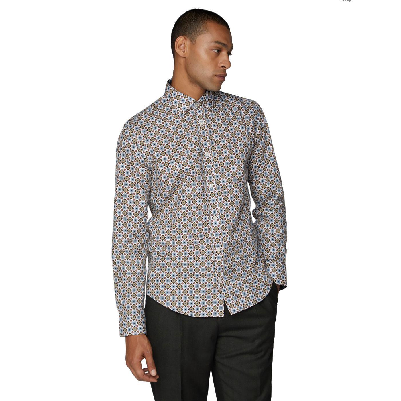 BEN SHERMAN Retro Mod Foulard Floral Print Shirt M