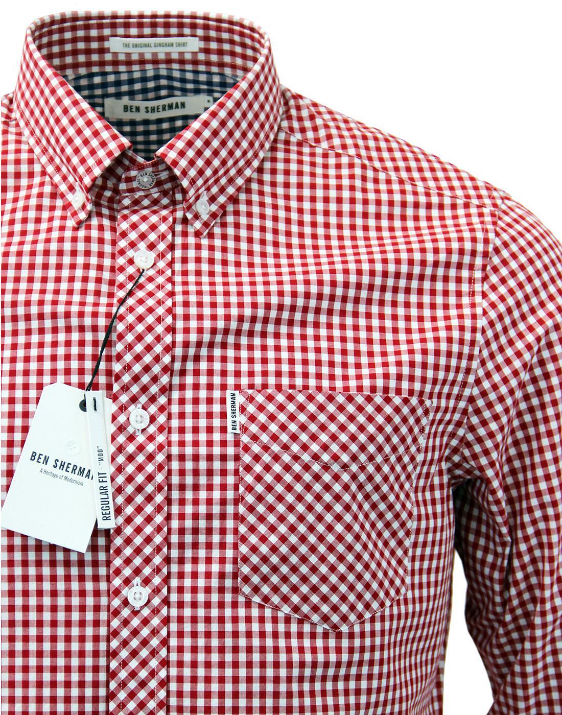 Men/'s 60/'s Indie Mod Gingham Check Grandad Collar Short Sleeve T Shirt