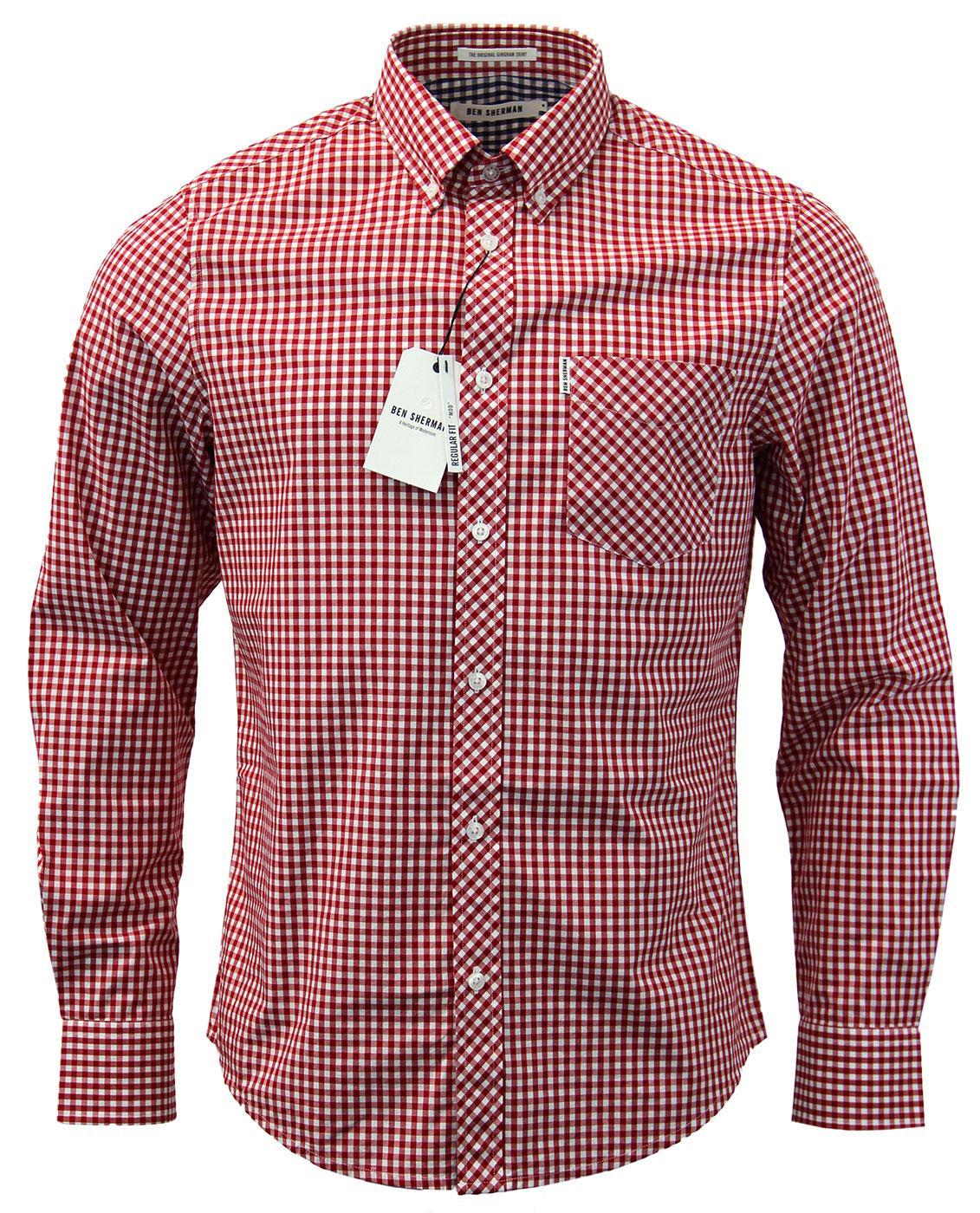 Ben Sherman Retro Mod L S The Original Gingham Shirt Red