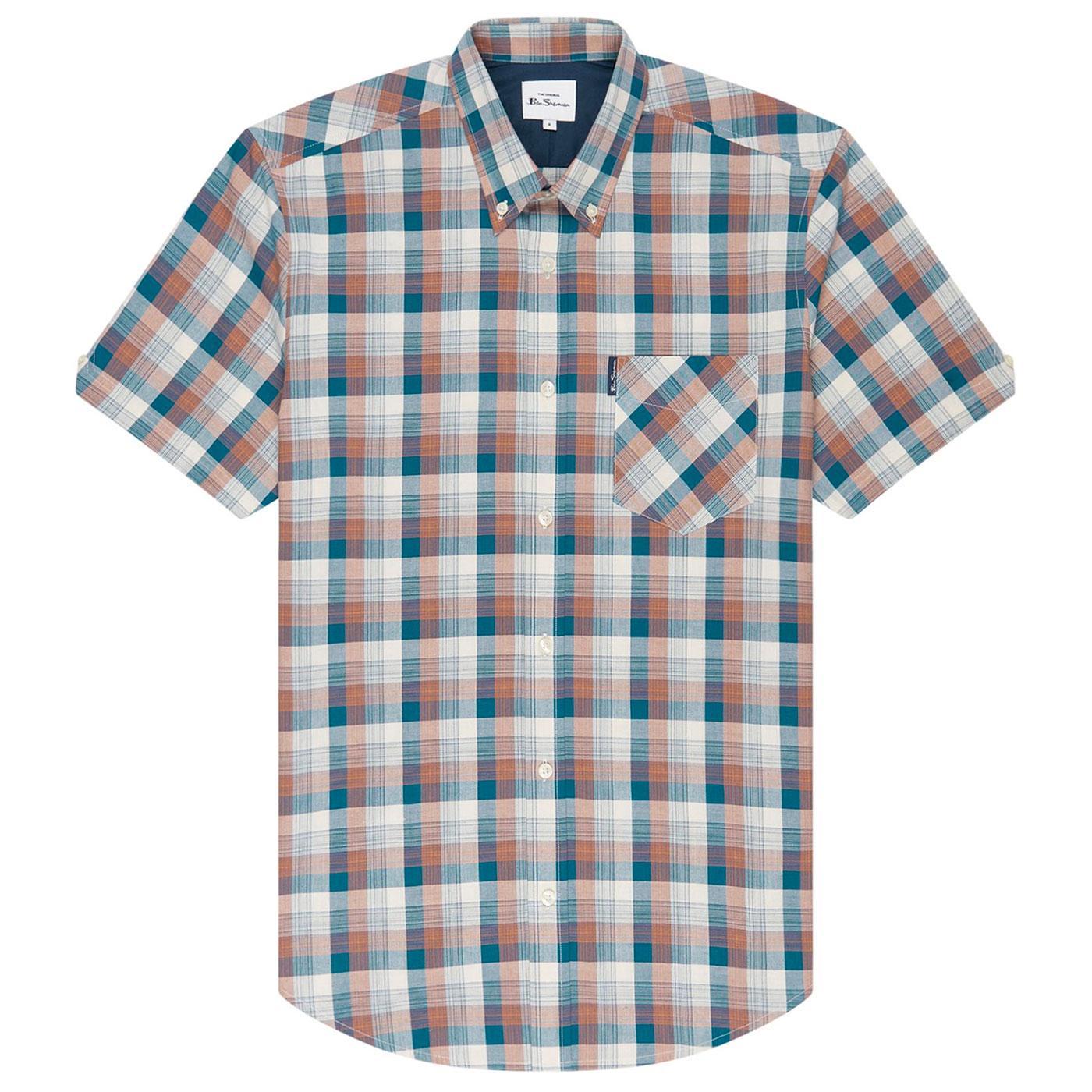 BEN SHERMAN Retro Mod 70s Gradient Check Shirt S