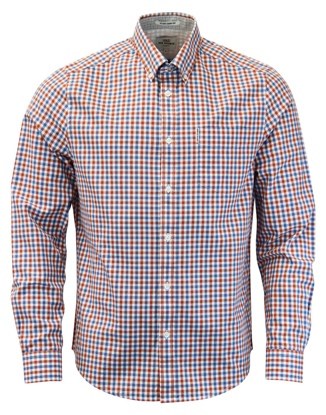 BEN SHERMAN Mod 60s House Gingham Shirt in Red
